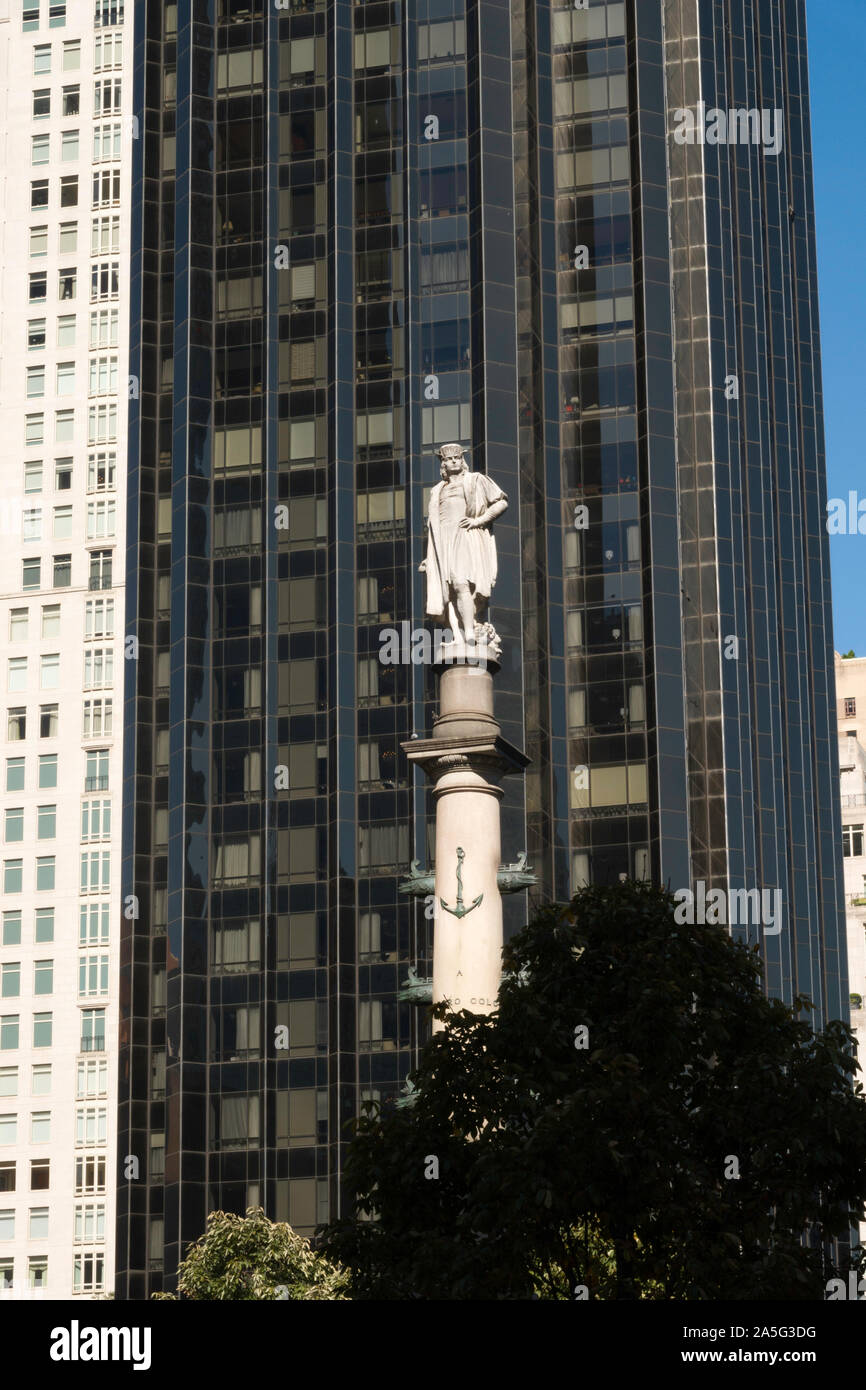 Christopher Columbus Monument, Columbus Circle, NYC Stock Photo
