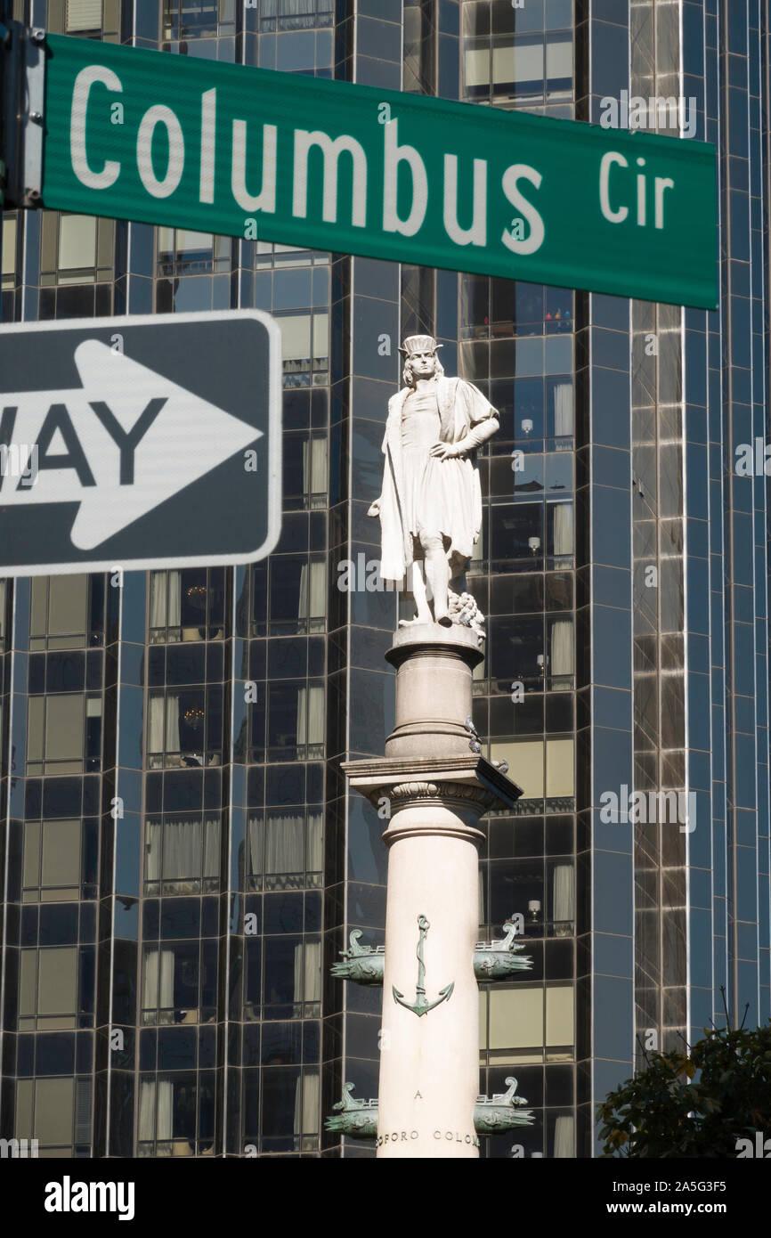 Christopher Columbus Monument, Columbus Circle, NYC Stock Photo