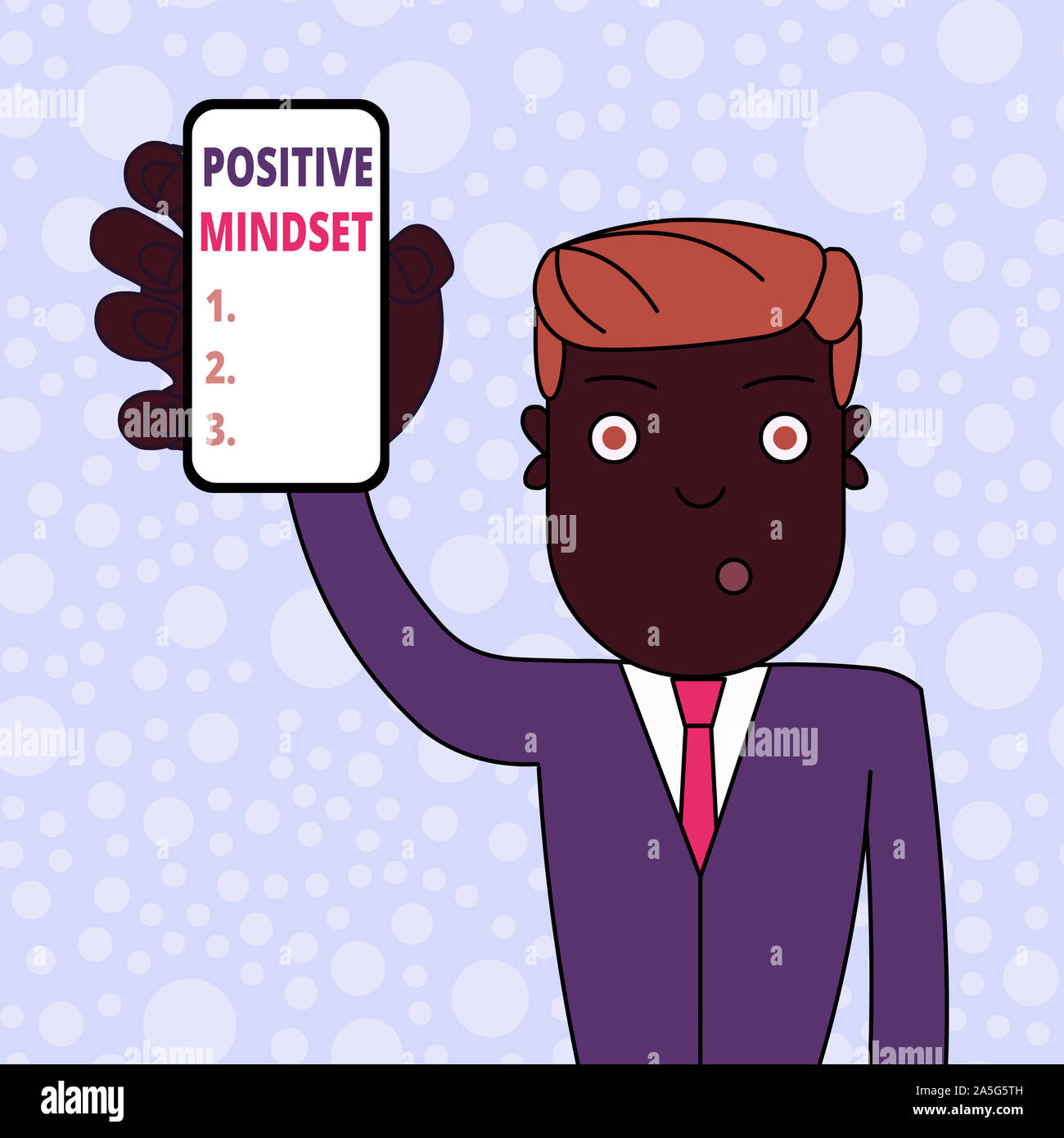 Conceptual hand writing showing Positive Mindset. Concept meaning mental attitude in wich you expect favorable results Man Holding Vertical Smartphone Stock Photo