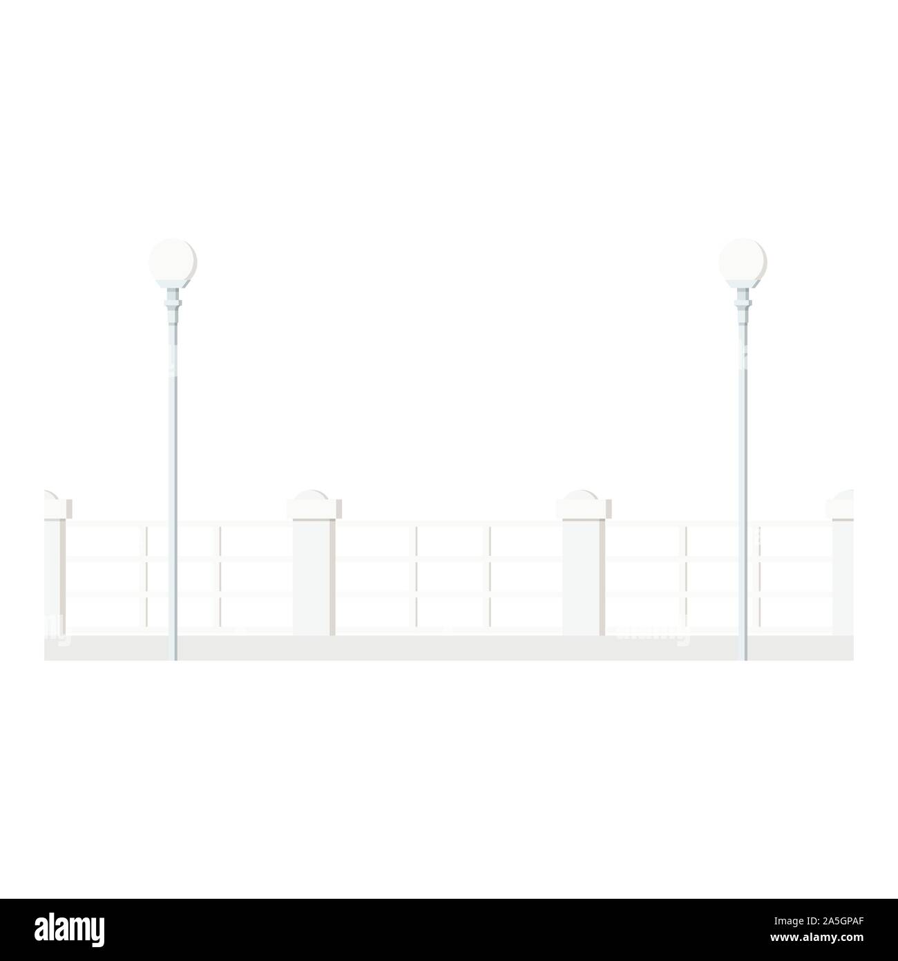Flat design cartoon style image of a long row of white decorative metal street fence with round streetlight lanterns Stock Vector