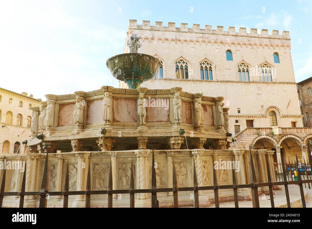 Close up of monumental fountain Fontana Maggiore in Piazza IV Novembre main square of Perugia, Umbria, Italy. Stock Photo