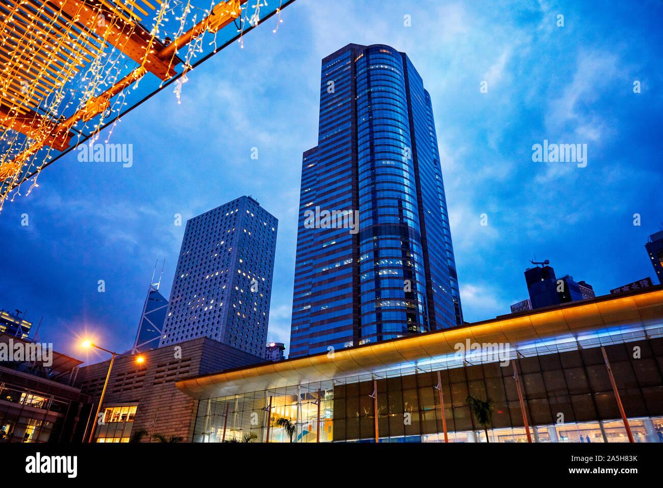 High-rise buildings at dusk. Central, Hong Kong, China. Stock Photo