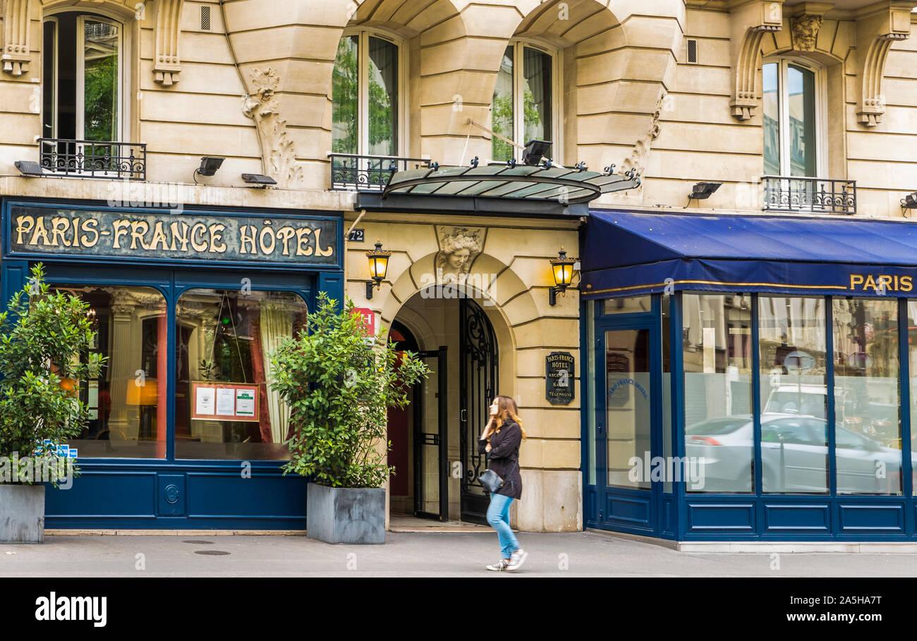 street scene in front of paris-france hotel Stock Photo