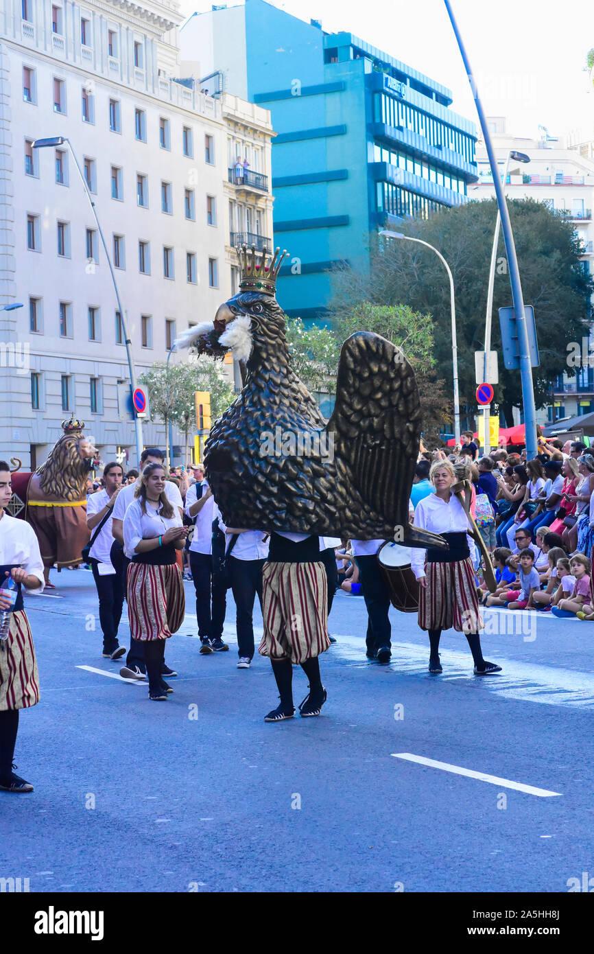 La Mercè festival. Dance of the eagle. Barcelona, Catalonia, Spain. Stock Photo