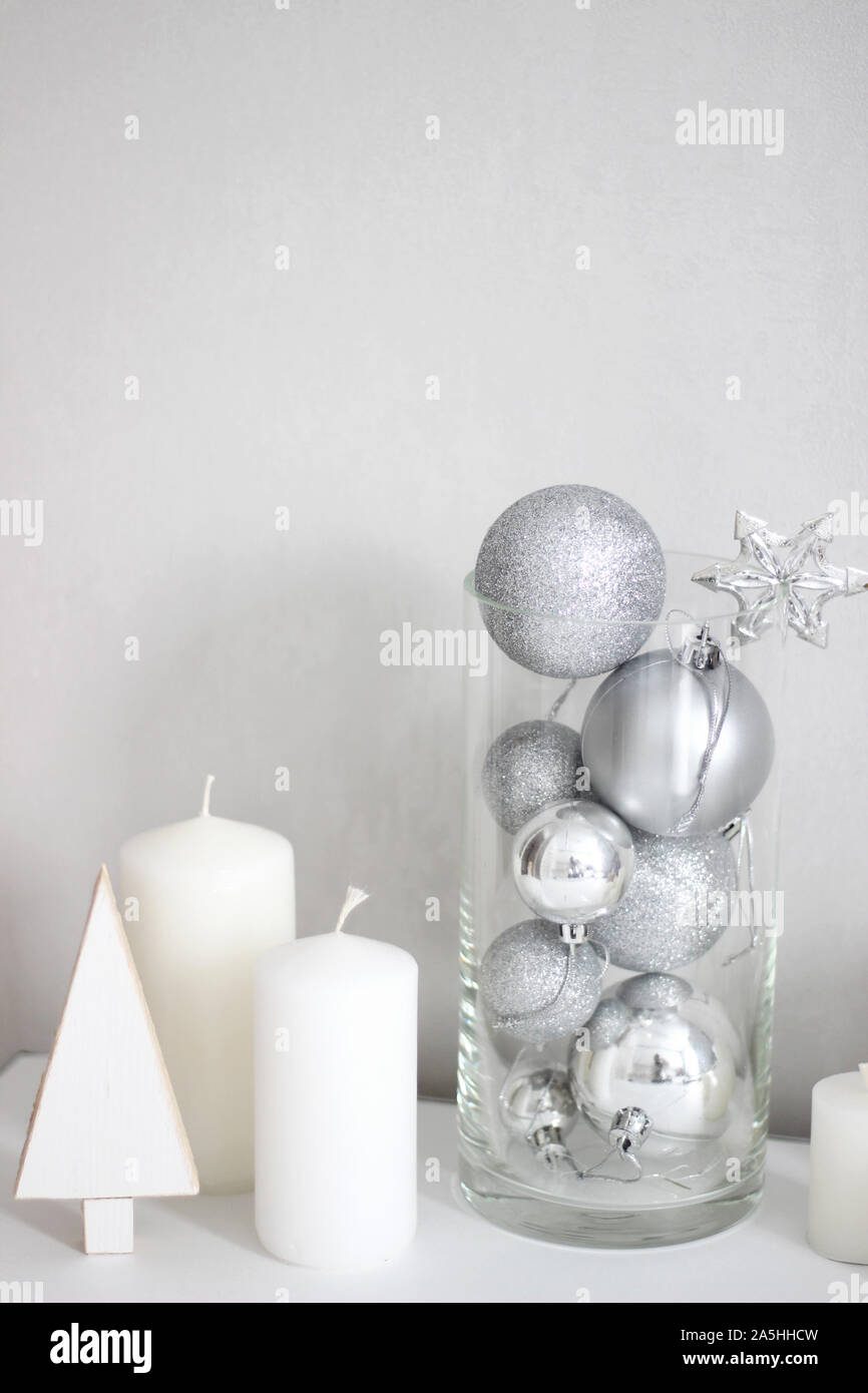 Holidays Festive Silver Ornaments White Candles Minimal Christmas Decorations Home Decor For Winter Stock Photo Alamy