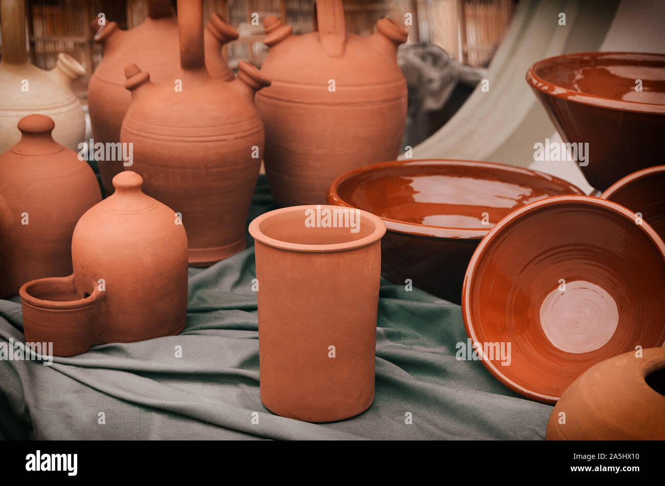 Clay Pottery Background Handcrafts Potter Ceramics Pots Pitchers Cups Bowls On Table Artisan Art Concept Stock Photo Alamy