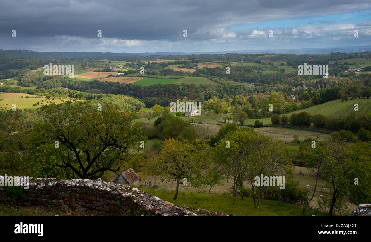 landscape in the dordogne valley in france near Castelnau-bretenoux Stock Photo