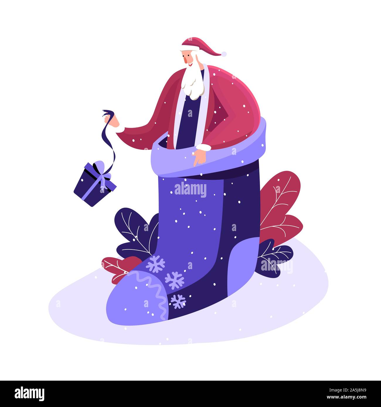 Merry Christmas and Happy winter Holidays. Happy Santa in festive fairy smart sock Before Xmas. Smiling character hasting in a hurry to congratulate c Stock Vector