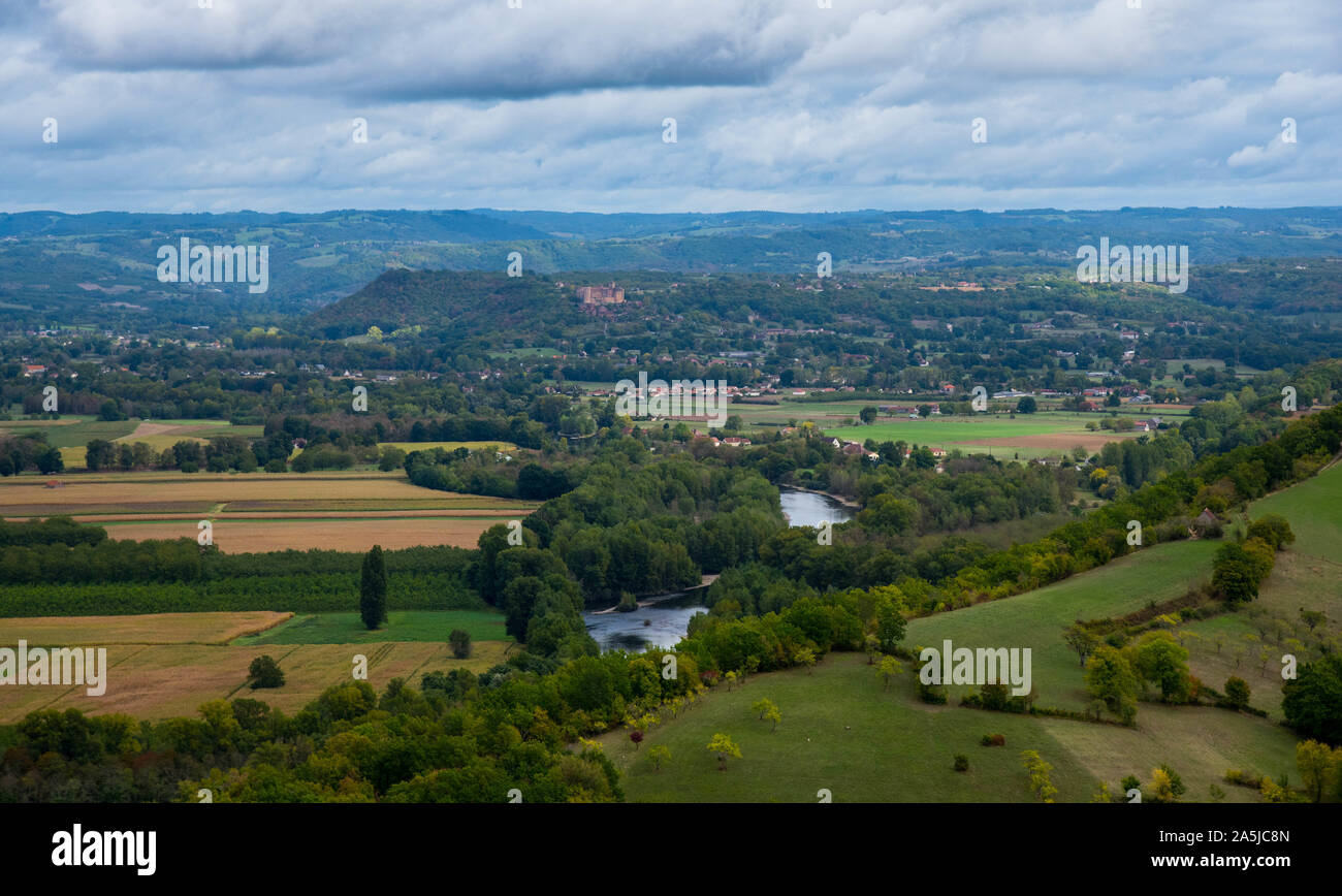 landscape in the dordogne valley in france near Castelnau-bretenoux Stock Photo