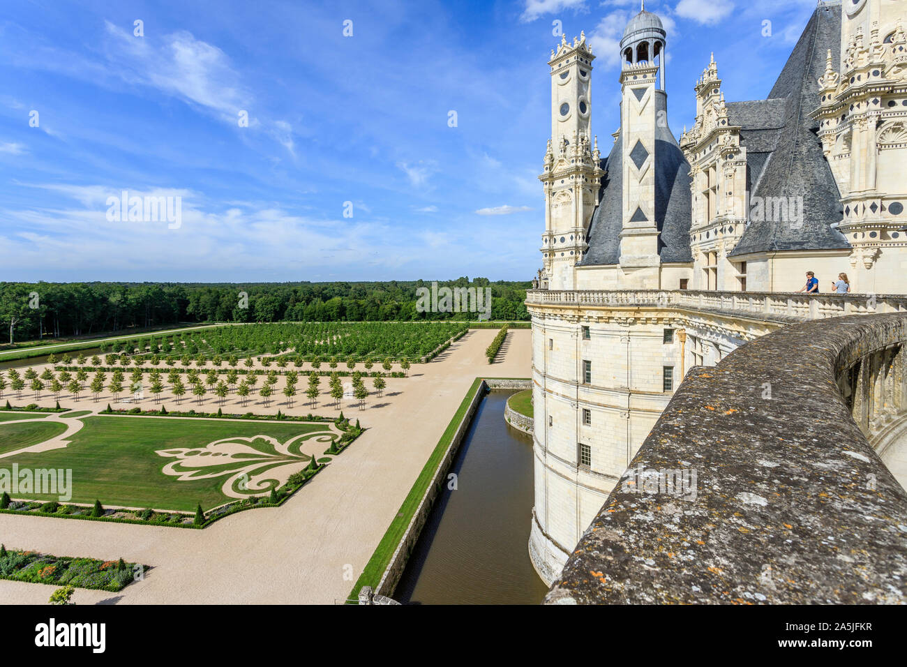 France, Loir et Cher, Loire Valley listed as World Heritage by UNESCO, Chambord, royal castle, the French gardens seen from the terrace // France, Loi Stock Photo