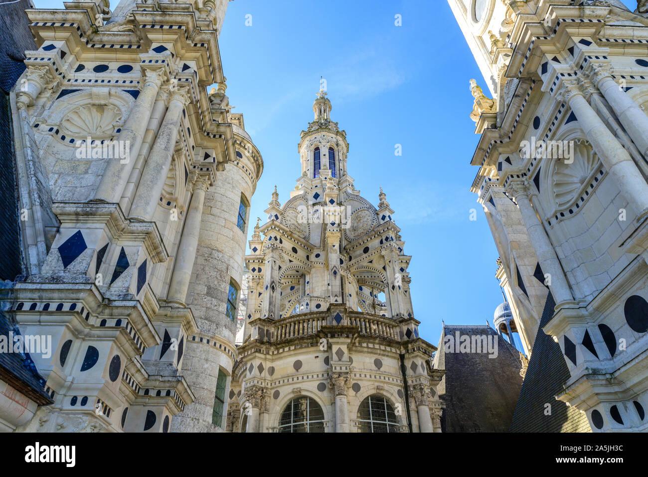 France, Loir et Cher, Loire Valley listed as World Heritage by UNESCO, Chambord, royal castle, the lantern tower // France, Loir-et-Cher (41), Val de Stock Photo