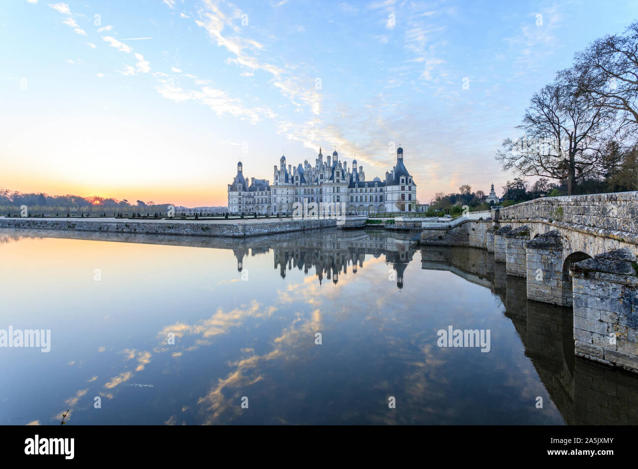 France, Loir et Cher, Loire Valley listed as World Heritage by UNESCO, Chambord, royal castle, north-west facade and bridge over the Cosson river // F Stock Photo
