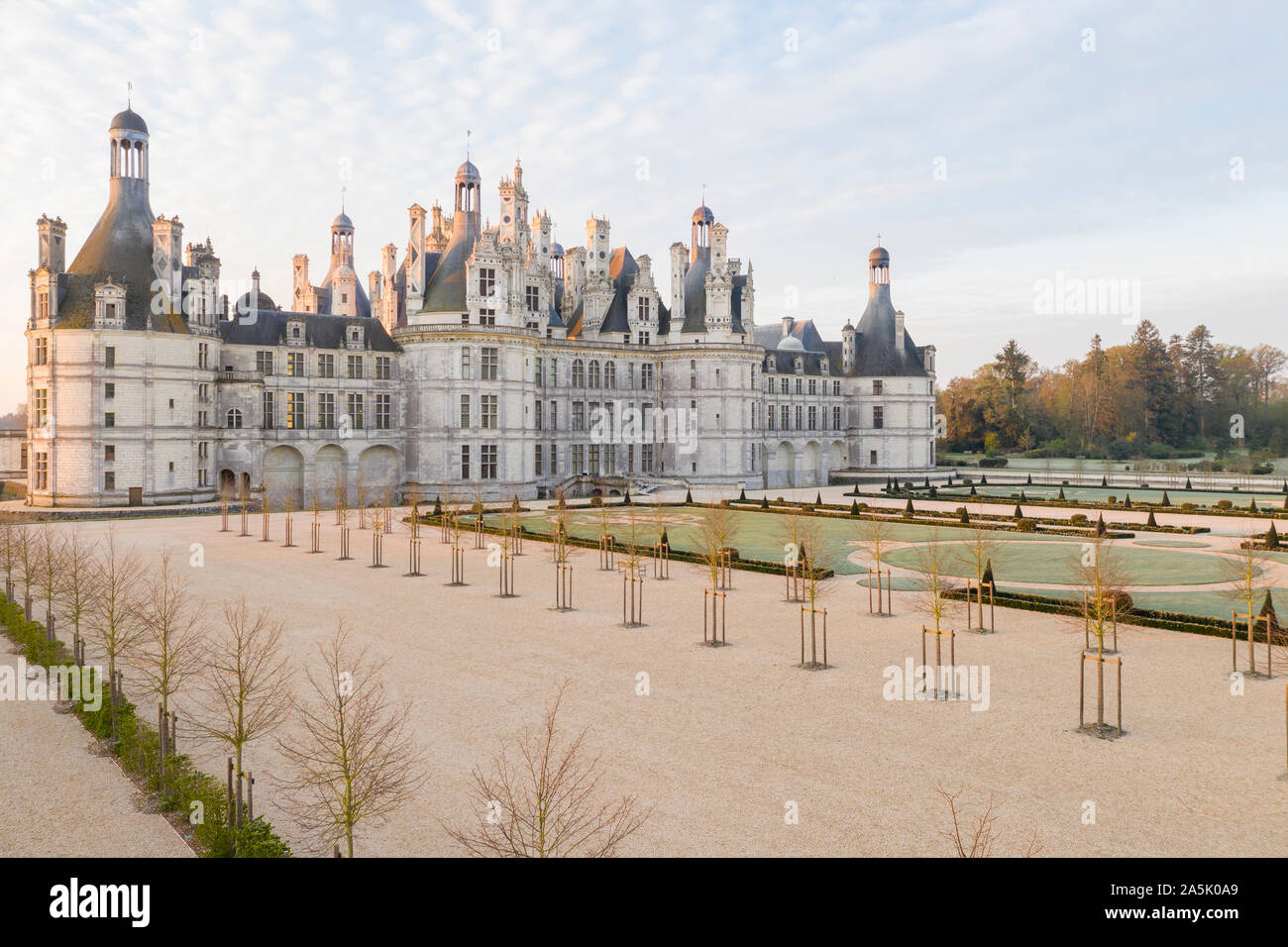 France, Loir et Cher, Loire Valley listed as World Heritage by UNESCO, Chambord, royal castle, the French gardens, sunrise, frosty morning // France, Stock Photo
