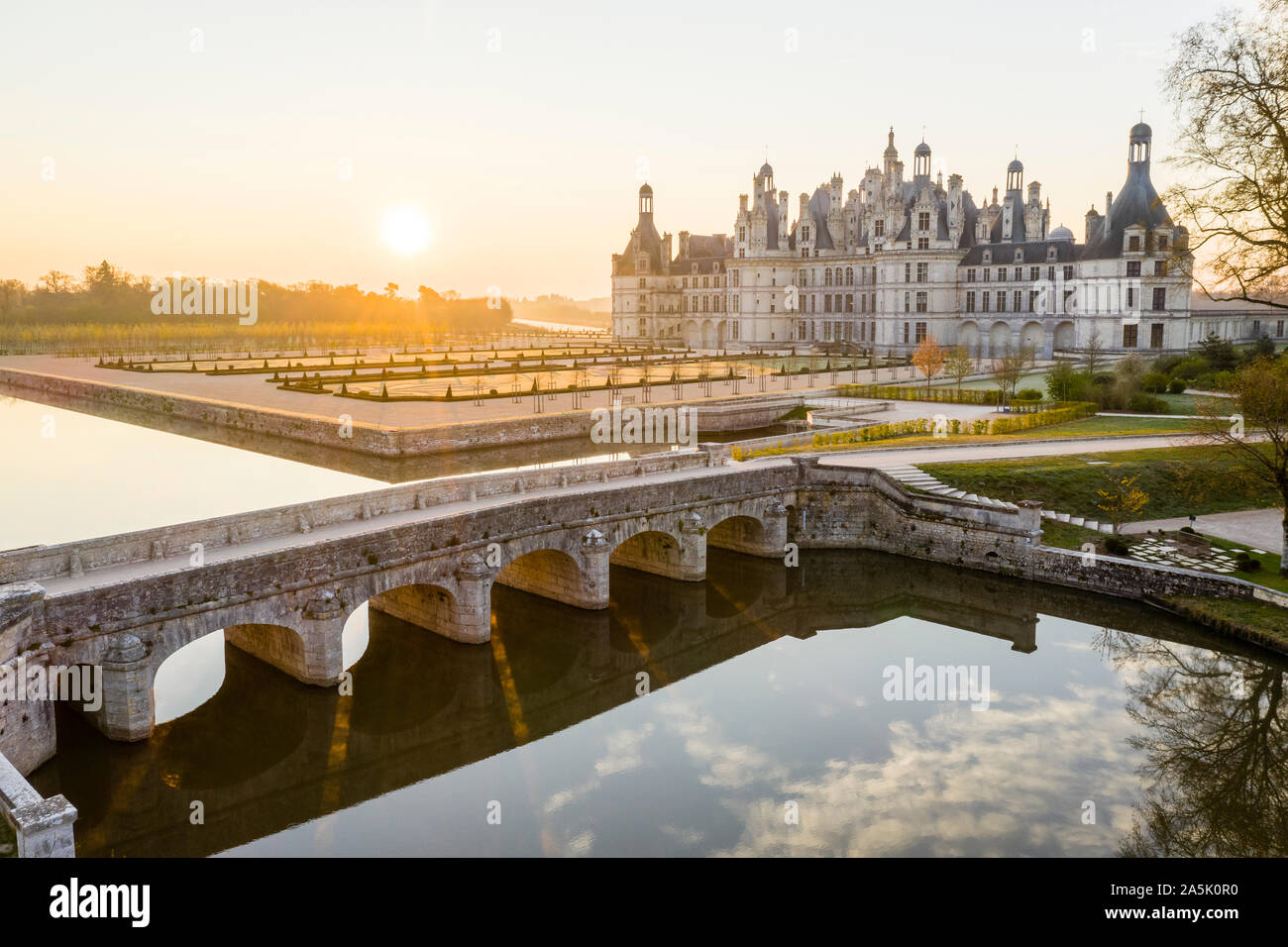 France, Loir et Cher, Loire Valley listed as World Heritage by UNESCO, Chambord, royal castle, the French gardens and bridge over the canalized Cosson Stock Photo