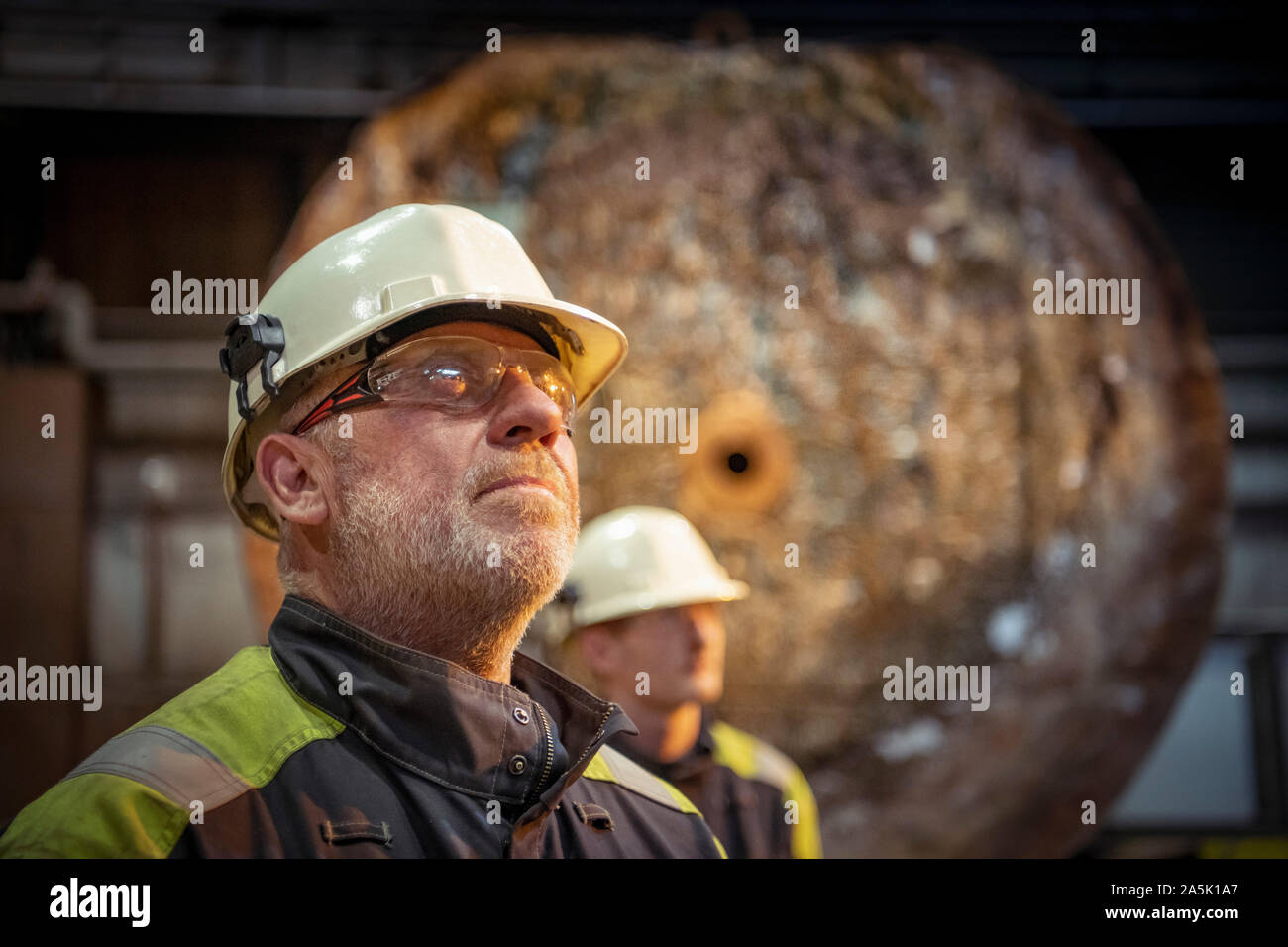 Portrait of steelworkers in steelworks Stock Photo