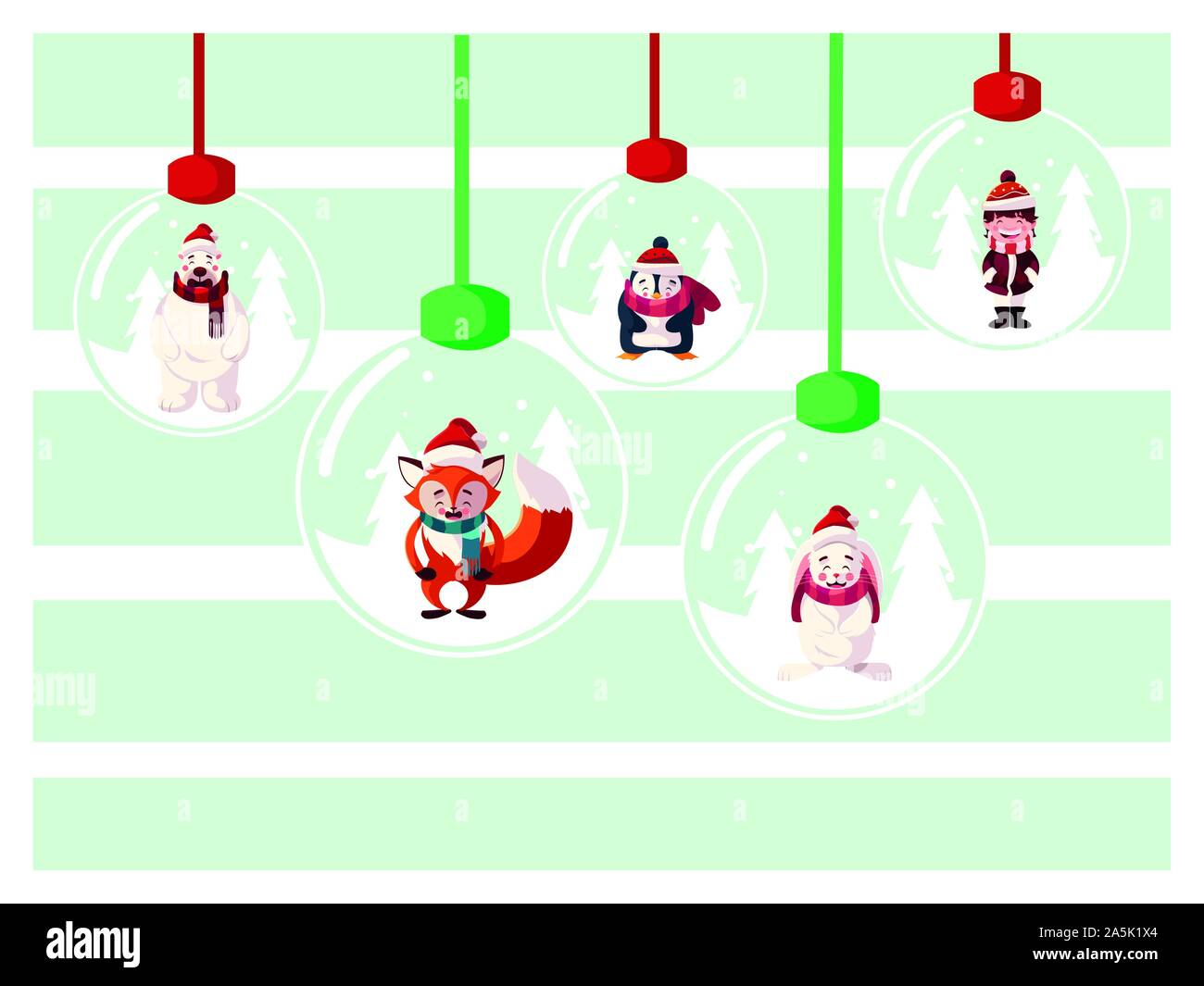 christmas ball with animals in winter landscape vector illustration design Stock Vector