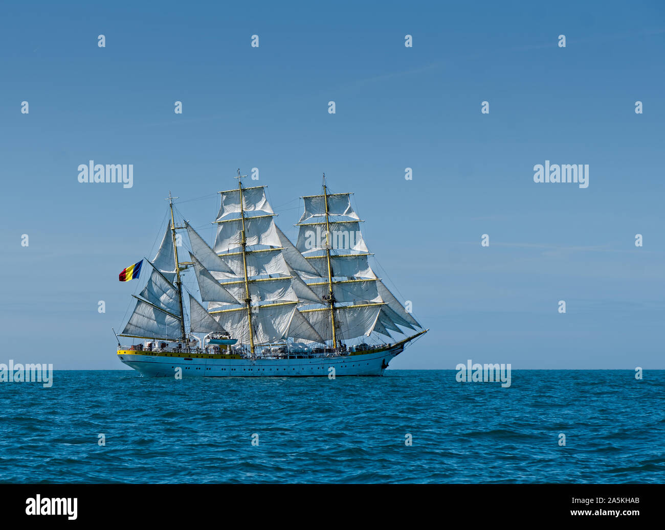 Mircea, a Romanian flagged square rigged sailing ship in the English Channel Stock Photo