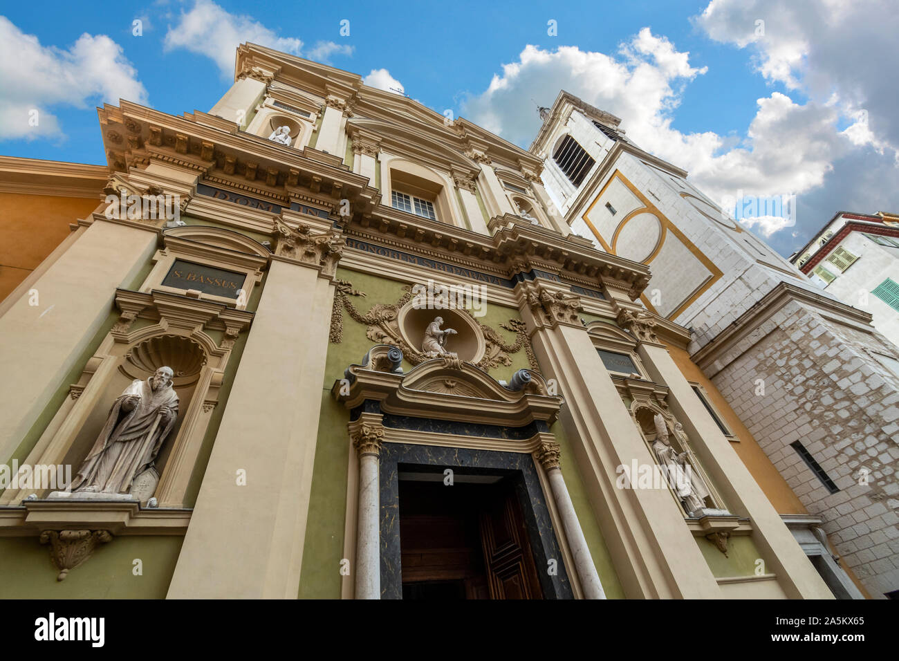 The facade of the Nice Cathedral or Sainte-Reparate de Nice in the Old Town historical center of Nice, France, on the French Riviera. Stock Photo