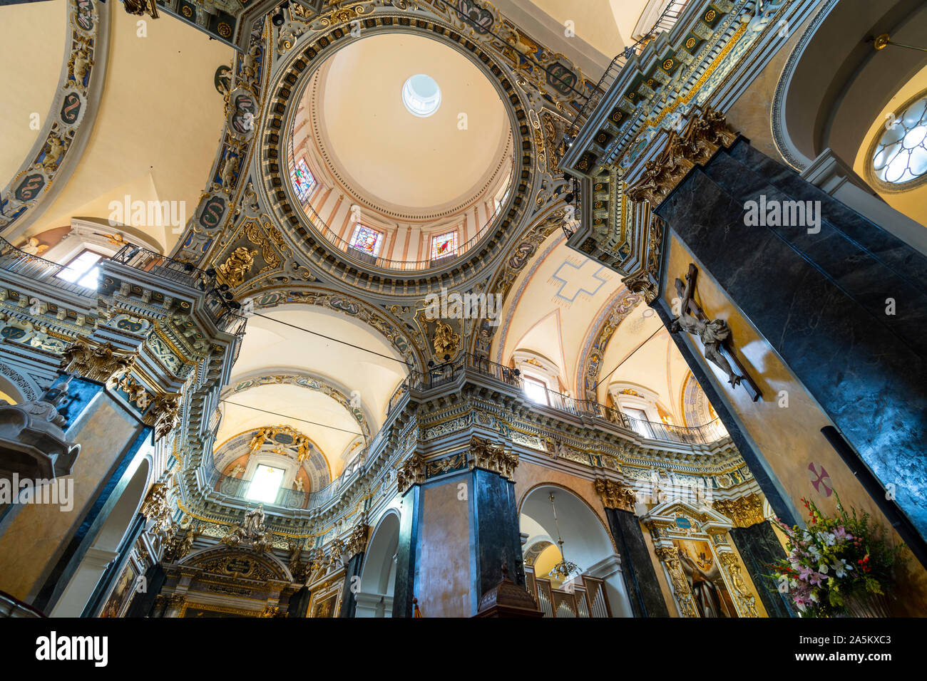The baroque interior of the Sainte-Reparate or Nice Cathedral including artwork, chapels and the dome. Stock Photo