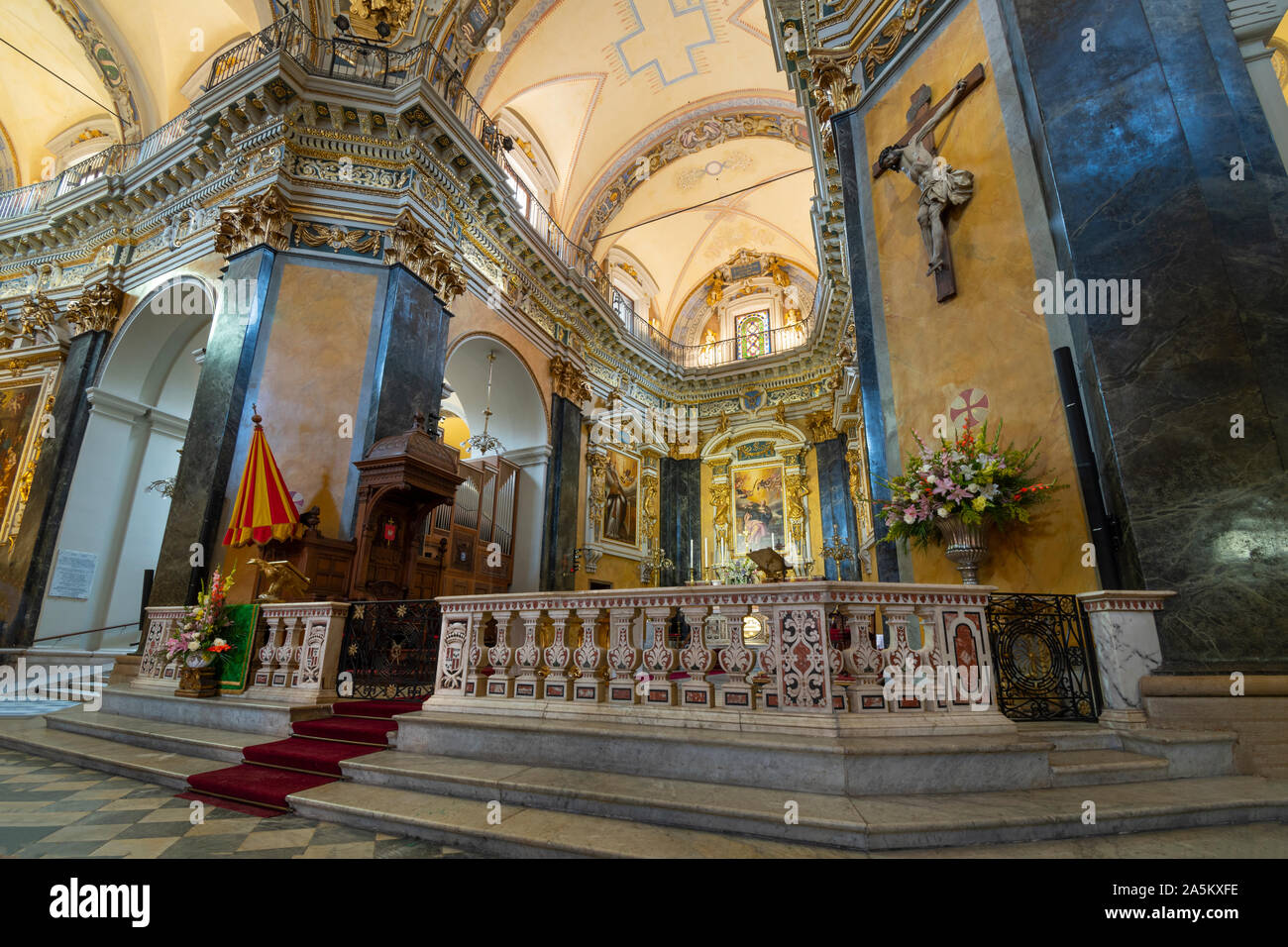 One of the 10 chapels in the Baroque Nice Cathedral, also known as Cathedral Sainte-Reparate de Nice. Stock Photo