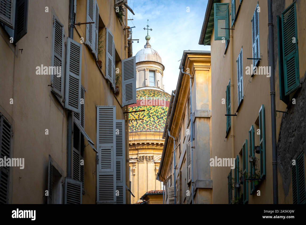 The dome and cupola of Sainte Reparate or Nice Cathedral on Place Rossetti in the old town Vieux City on the French Riviera in  Nice, France. Stock Photo