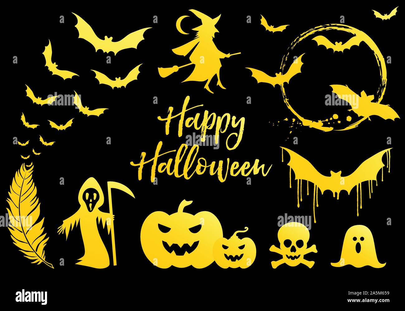 Halloween set with golden bats, flying witch, gold pumpkins, moon, ghost, vector design elements Stock Vector