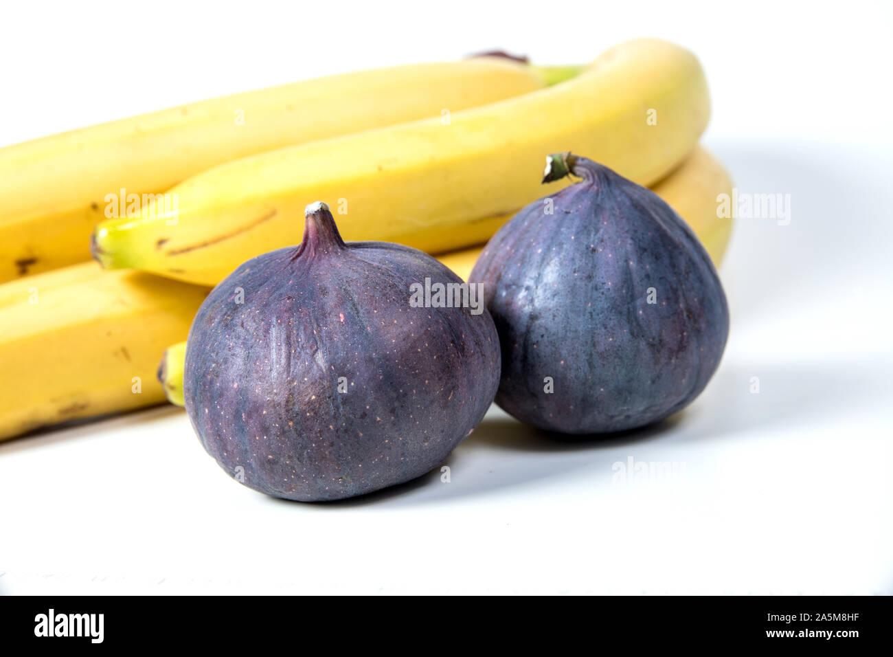 figs and bananas, beautiful fruits, bananas, purple figs, close-up, vitamins concept, vegan food, healthy eating, Stock Photo