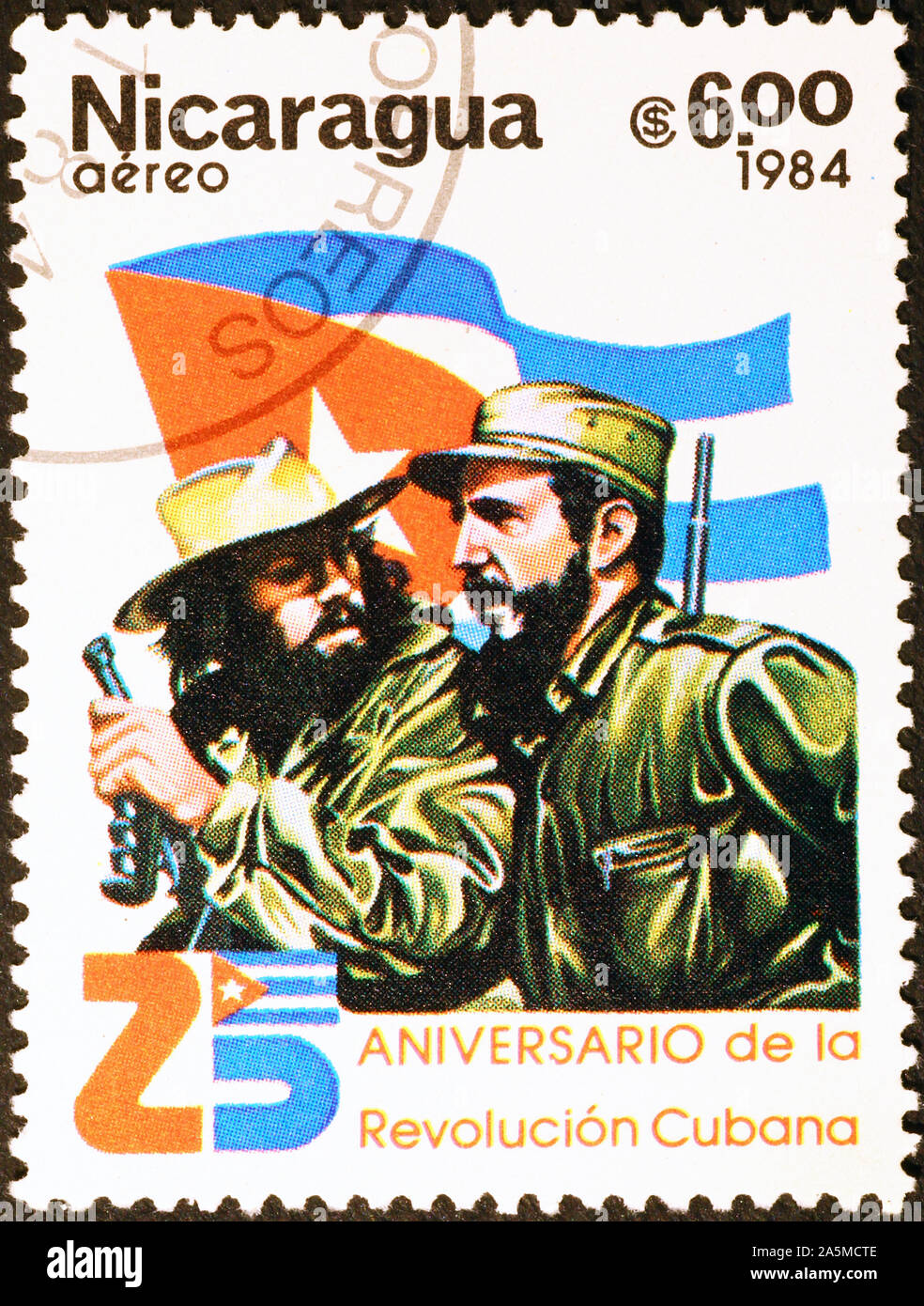 Fidel Castro and Che Guevara on postage stamp of Nicaragua Stock Photo