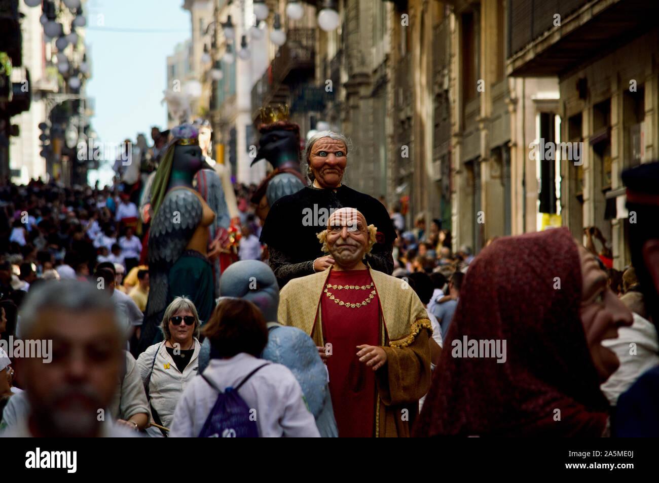 The Giants Parade during La Merce Festival 2019 at Placa de Sant Jaume in Barcelona, Spain Stock Photo