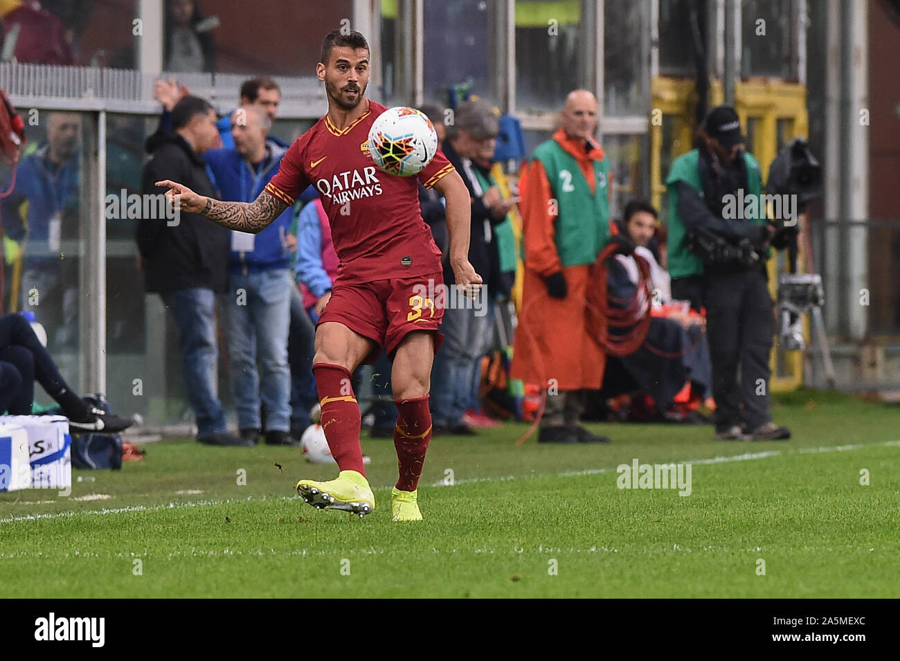 Leonardo Spinazzola Roma During Sampdoria Vs As Roma Genova Italy 20 Oct 2019 Soccer Italian Soccer Serie A Men Championship Stock Photo Alamy