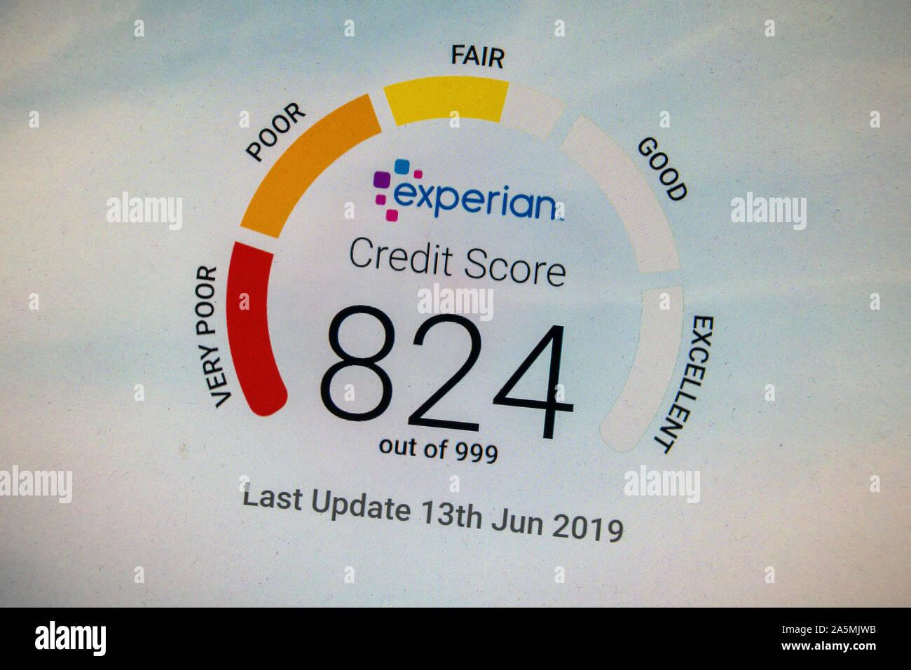 Screen shot of an Experian Credit Score screen showing a massive