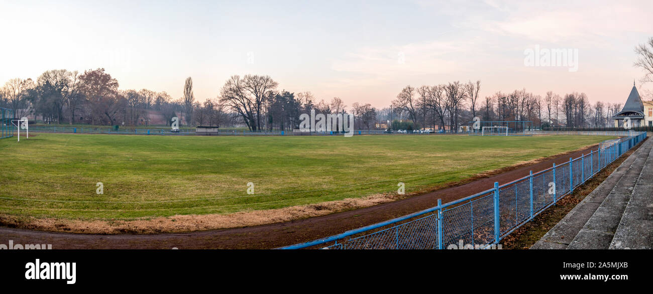 Early morning view to the football pitch near thermal bath and spas, Szigetvar, Hungary Stock Photo