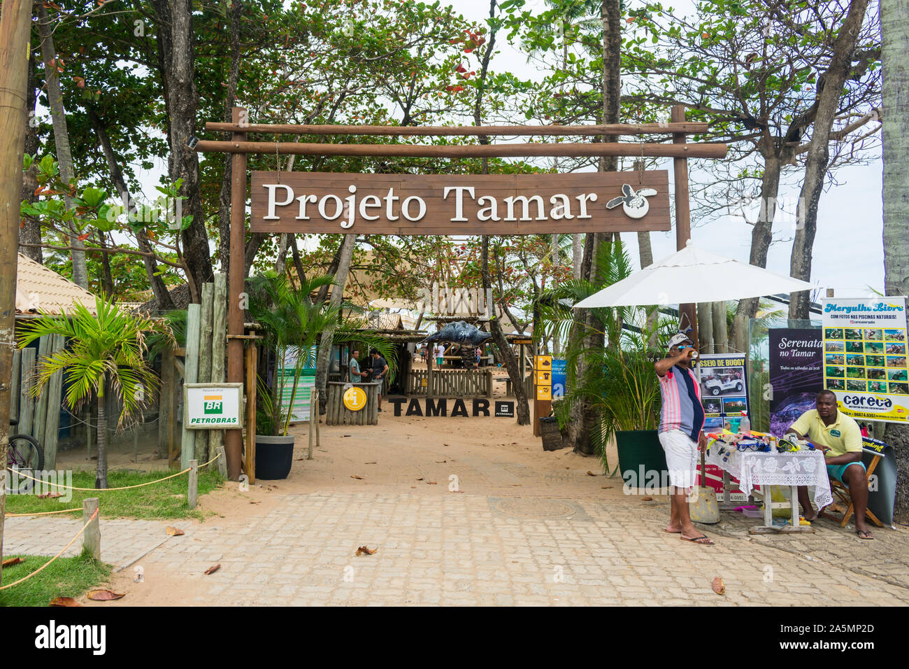 Praia do Forte, Brazil - Circa September 2019: Entrance of Projeto Tamar, a nationwide non-profit organization that cares for sea turtles Stock Photo