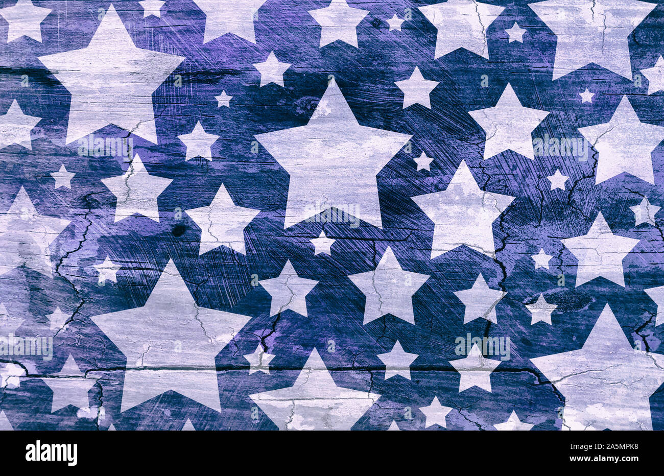 White stars on distressed vintage blue background wall with cracks and peeling paint brush strokes on barn wood grunge texture, old faded patriotic ba Stock Photo