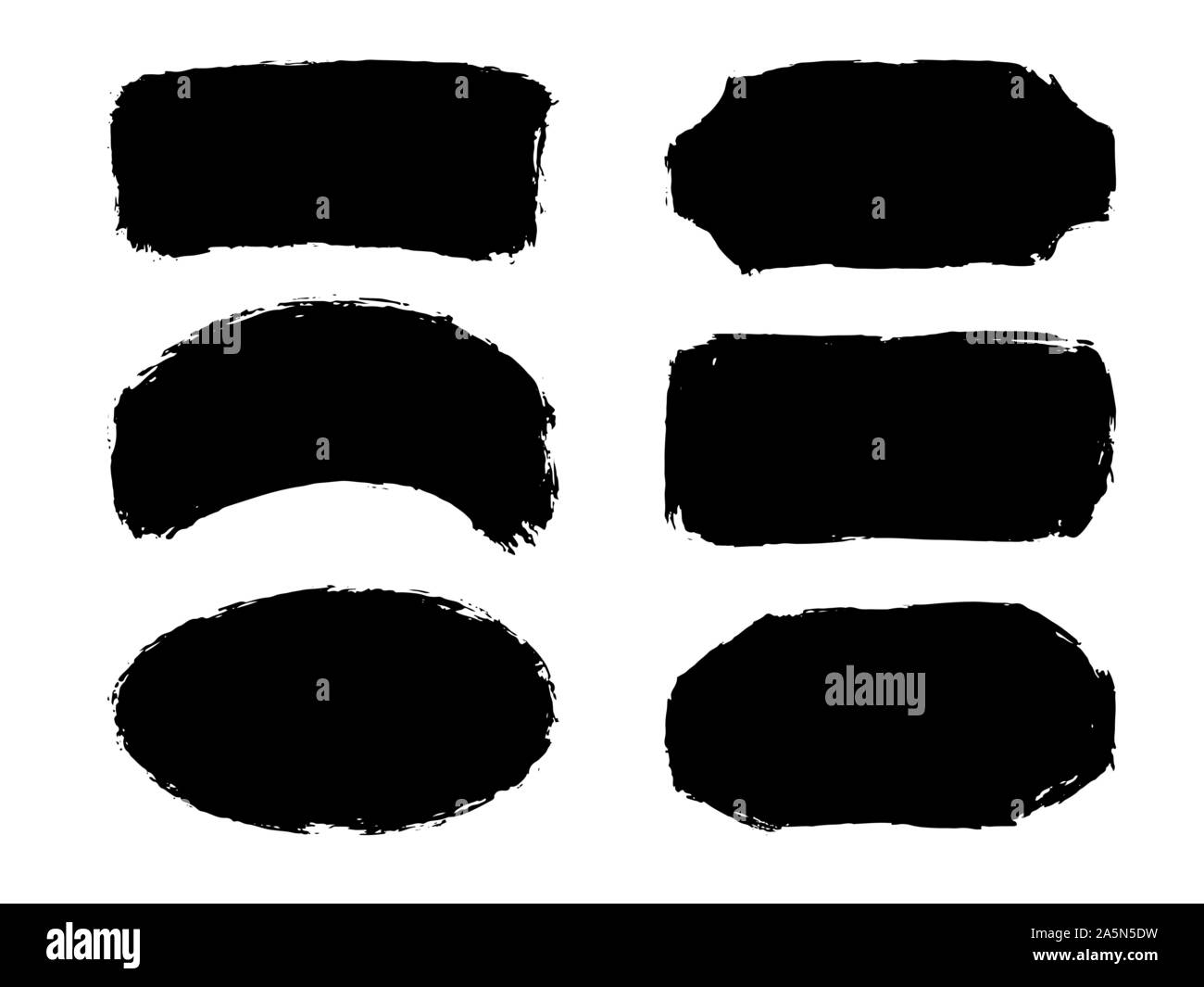 Set of six hand drawn abstract black paint labels or frames. Vector collection of shapes isolated on white background. Design elements for labels Stock Vector