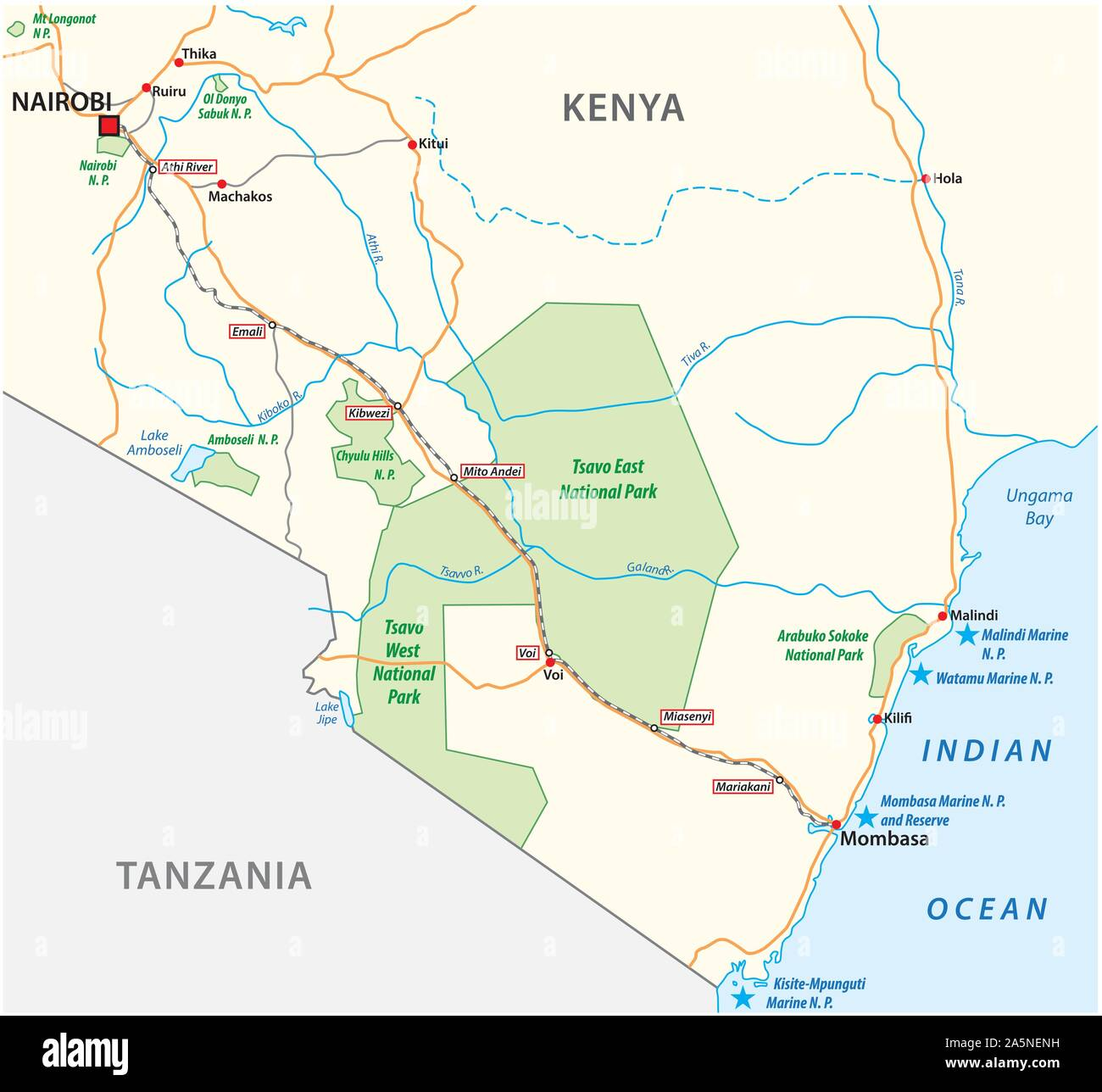 Mombasa Nairobi Railway map in kenya Stock Vector
