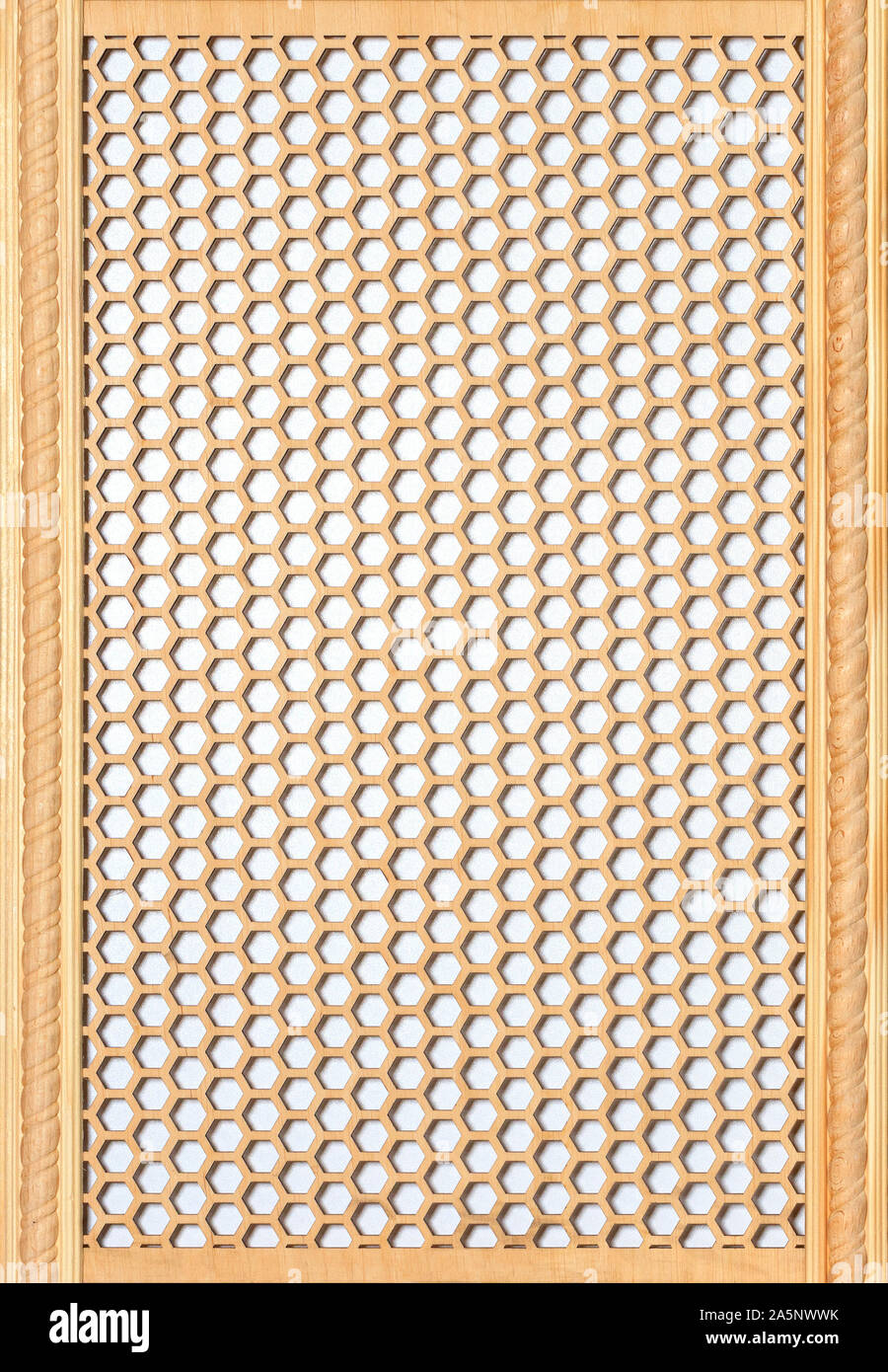 Wooden threaded figured panel with a pattern of the oriental style. Wood wall art, for wall decoration. Stock Photo