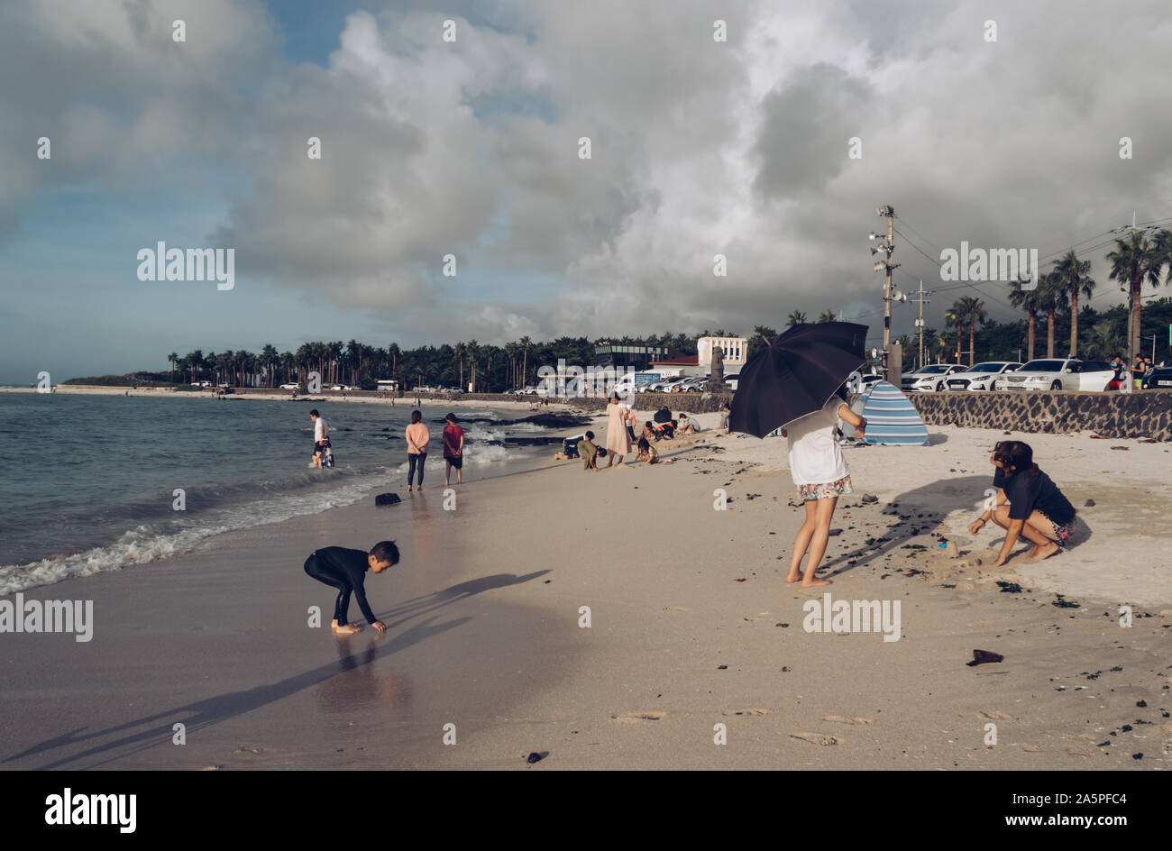Jeju Island, South Korea, september 07, 2019: typical vacation of  korean people at Geumneung  beach Stock Photo