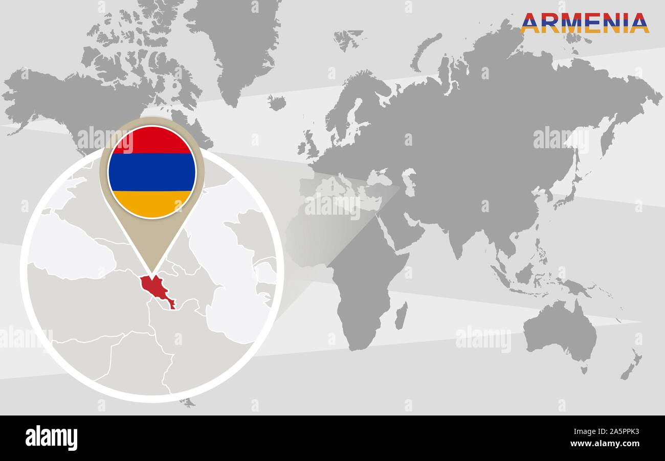 Picture of: World Map With Magnified Armenia Armenia Flag And Map Stock Vector Image Art Alamy