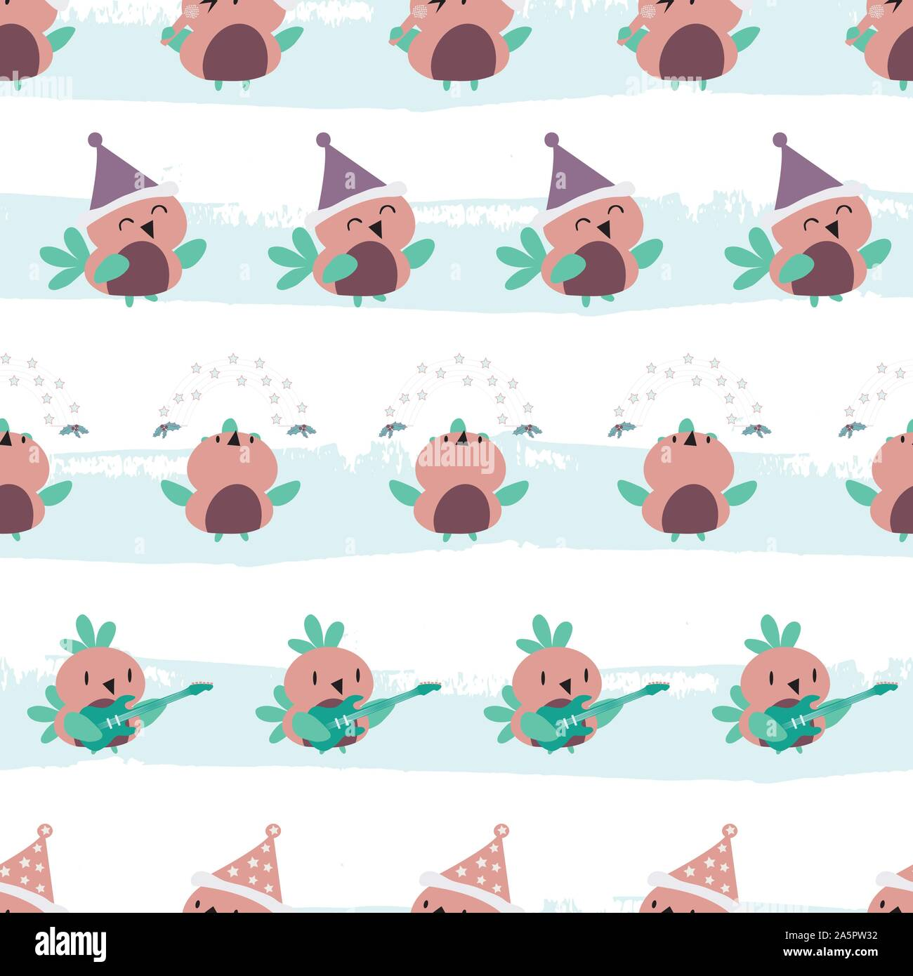 Cute cartoon robins in purple, pink and teal having fun dancing, singing and playing guitar. Seamless vector pattern on grunge effect striped ice blue Stock Vector