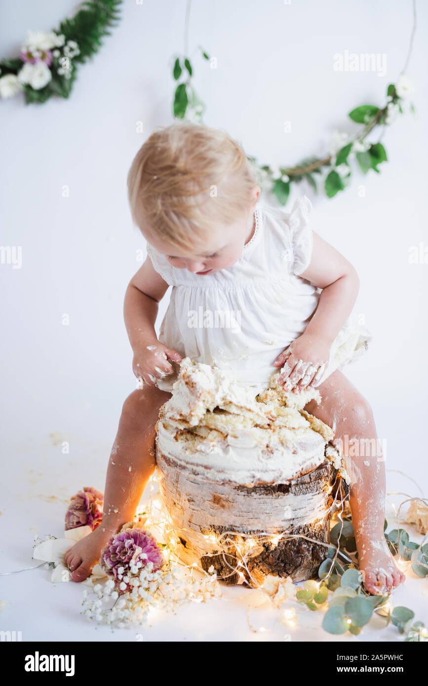 Terrific Toddler Girl Sitting On Cake Stock Photo 330573304 Alamy Birthday Cards Printable Benkemecafe Filternl