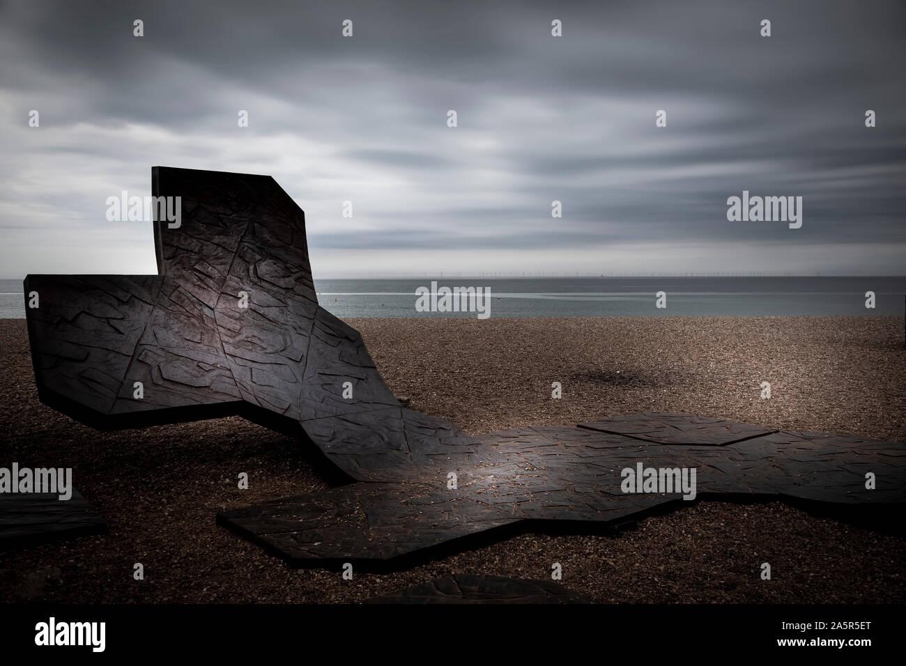 metal sculpture on brighton beach Stock Photo