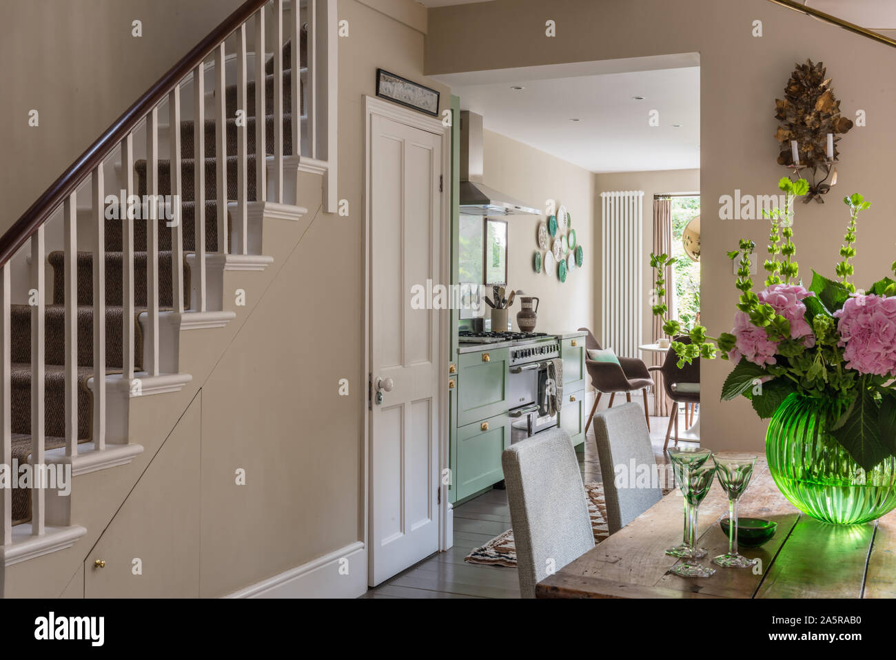Open Plan Kitchen Dining Room In Victorian Terrace Renovation Stock Photo Alamy