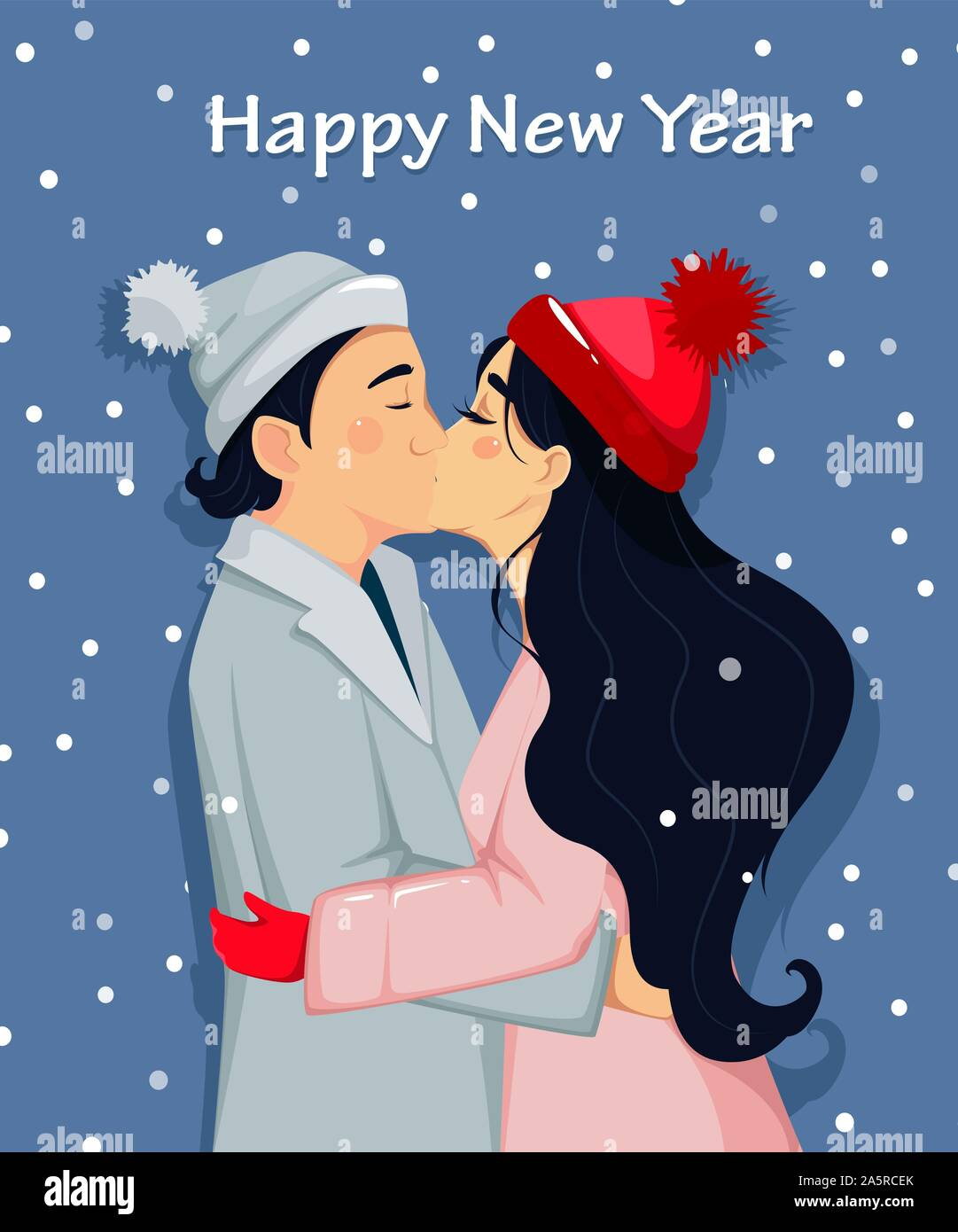 Happy New Year Beautiful Couple Kissing Man And Woman In Love Cartoon Characters Vector Illustration Stock Vector Image Art Alamy