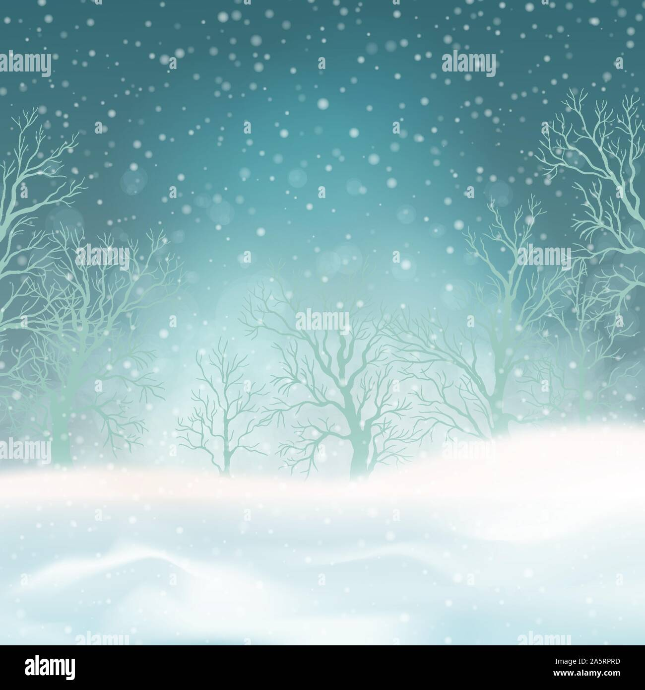 Winter forest and snow drifts in a frosty haze. Vector winter snowy landscape. Christmas background with snowfall Stock Vector