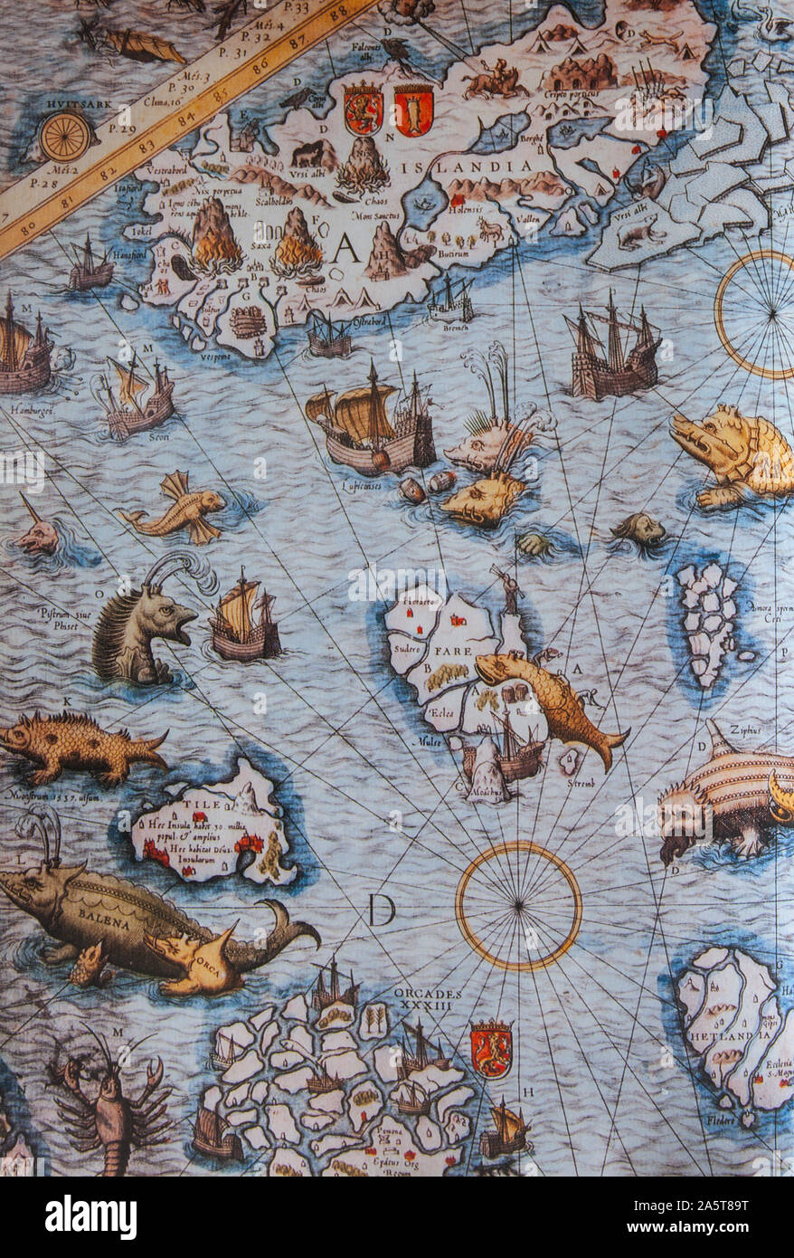 1539 Fragment of map by Olaus Magnus, depicting the mythical island of Thule. Original at Uppsala Library, Sweden, is the first large map of Northern Stock Photo
