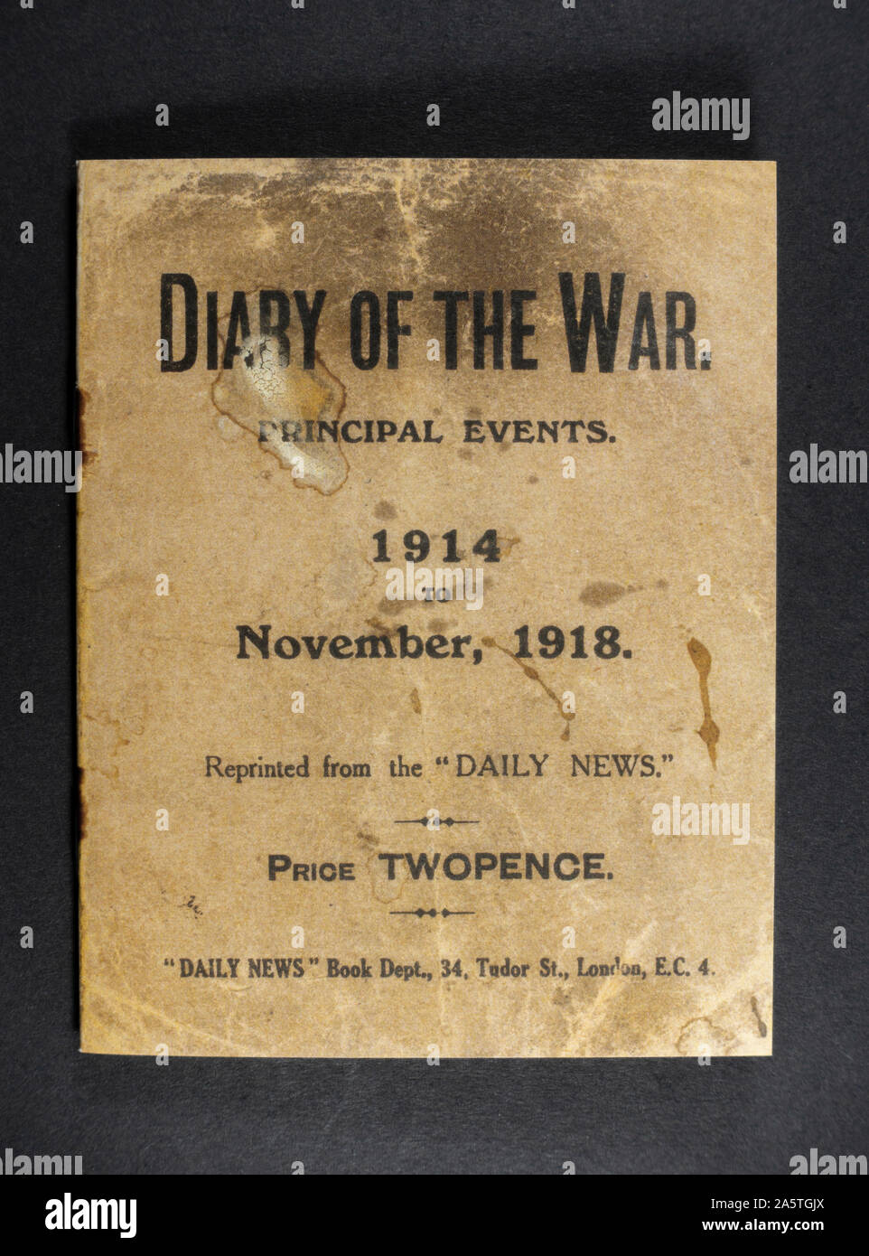 "A ""Diary of the War"" booklet made by the Daily News indicating key dates throughout World War One, a piece of replica memorabilia from the WWI era. Stock Photo"