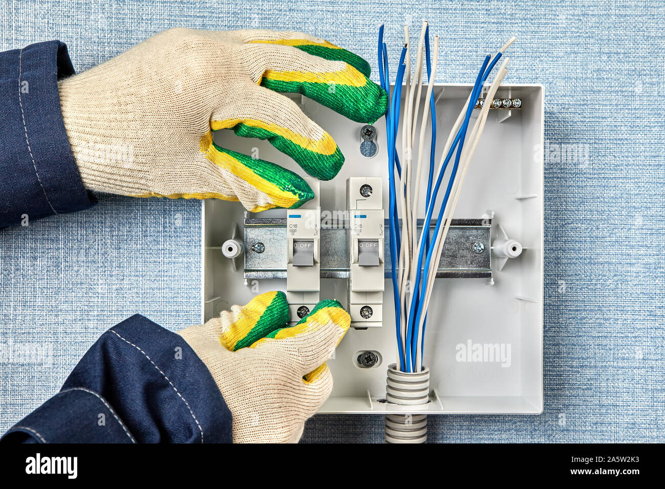 home fuse box wiring technician installs a home fusebox or electrical consumer unit  technician installs a home fusebox or