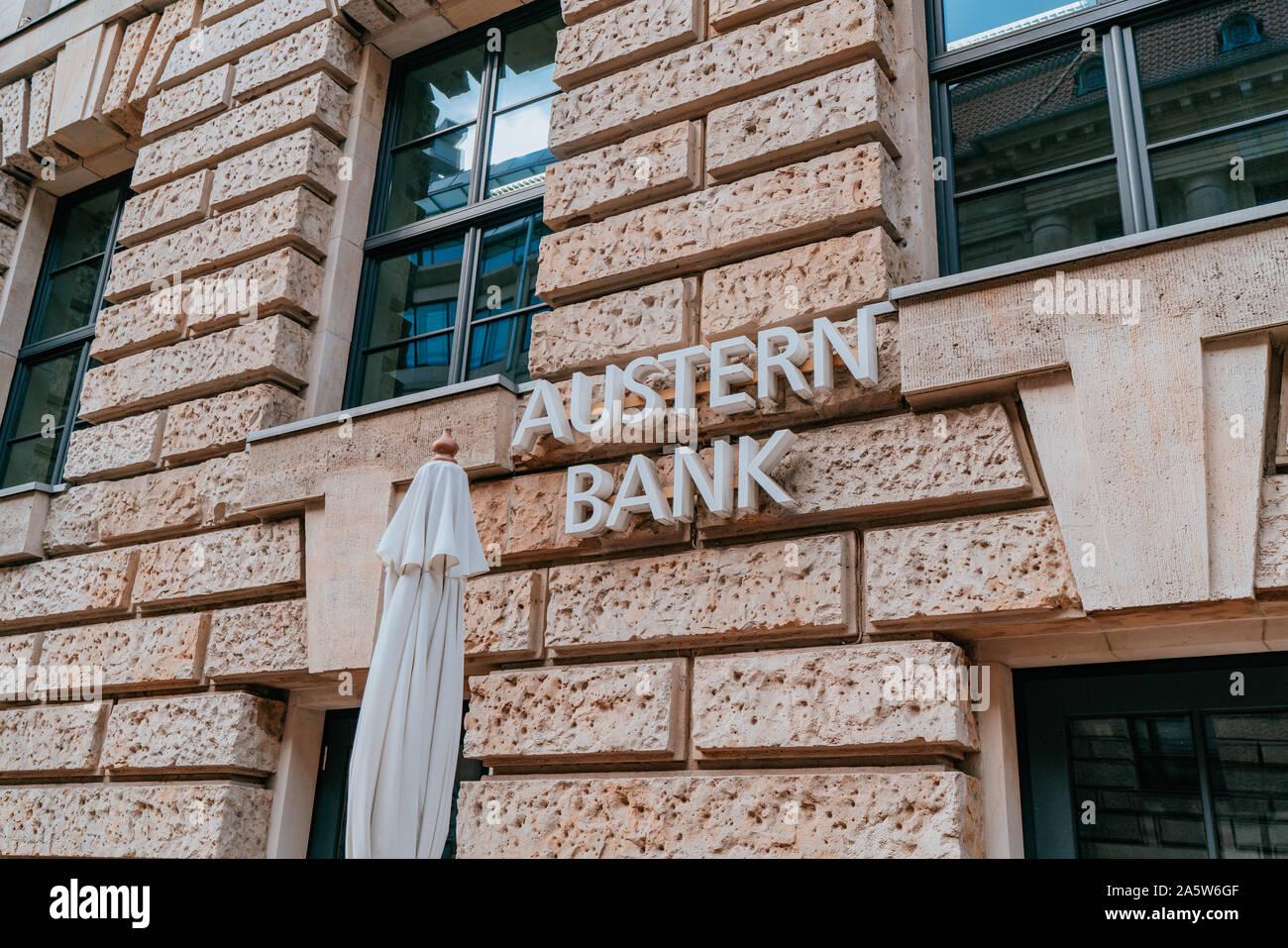 Berlin, Germany - September 20, 2019: Austernbank, Company Sign in Central Berlin Stock Photo