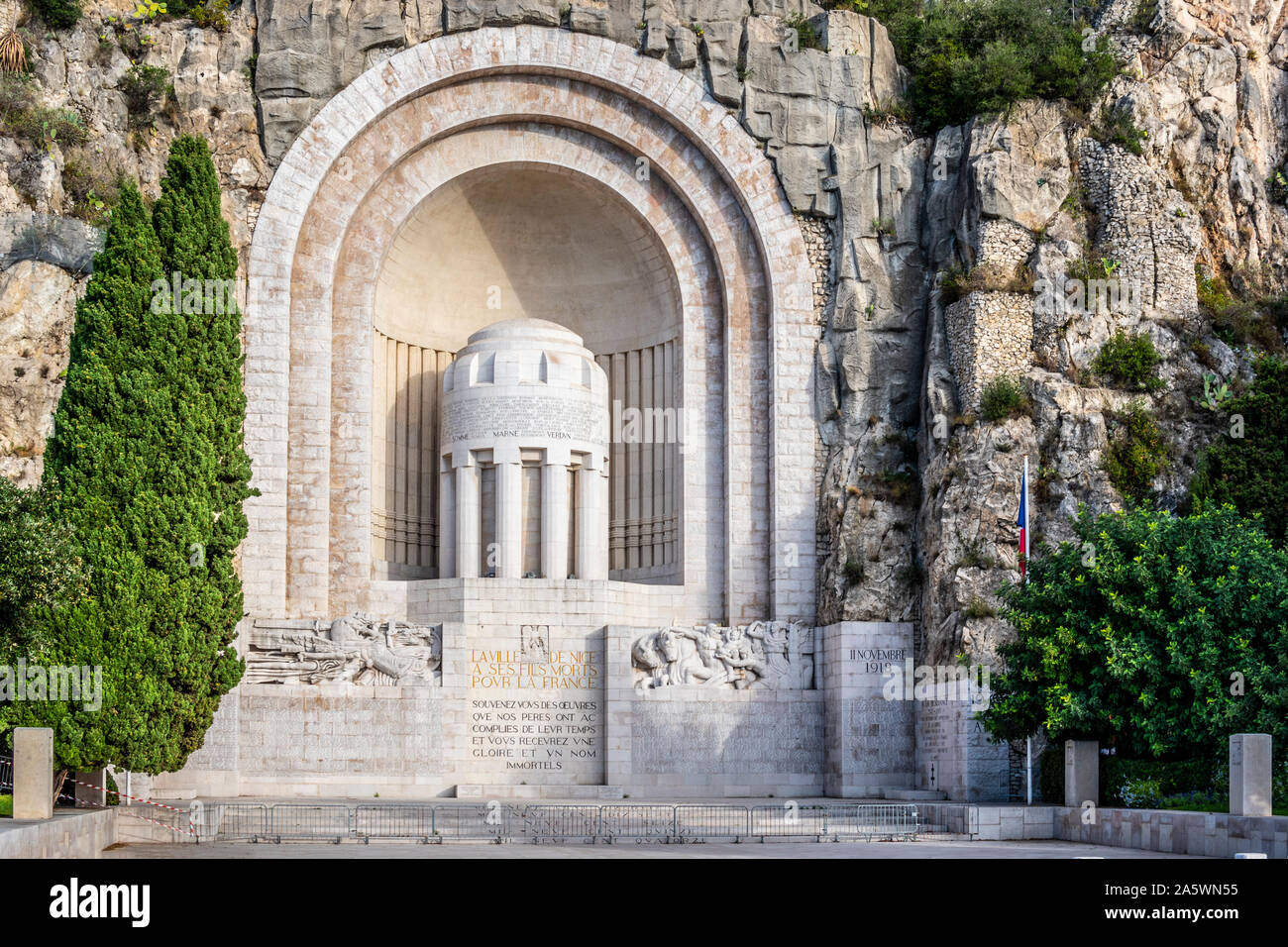 The Monument Aux Morts, at the foot of Castle Hill is a war memorial dedicated to the citizens of Nice who died in World War I. Stock Photo